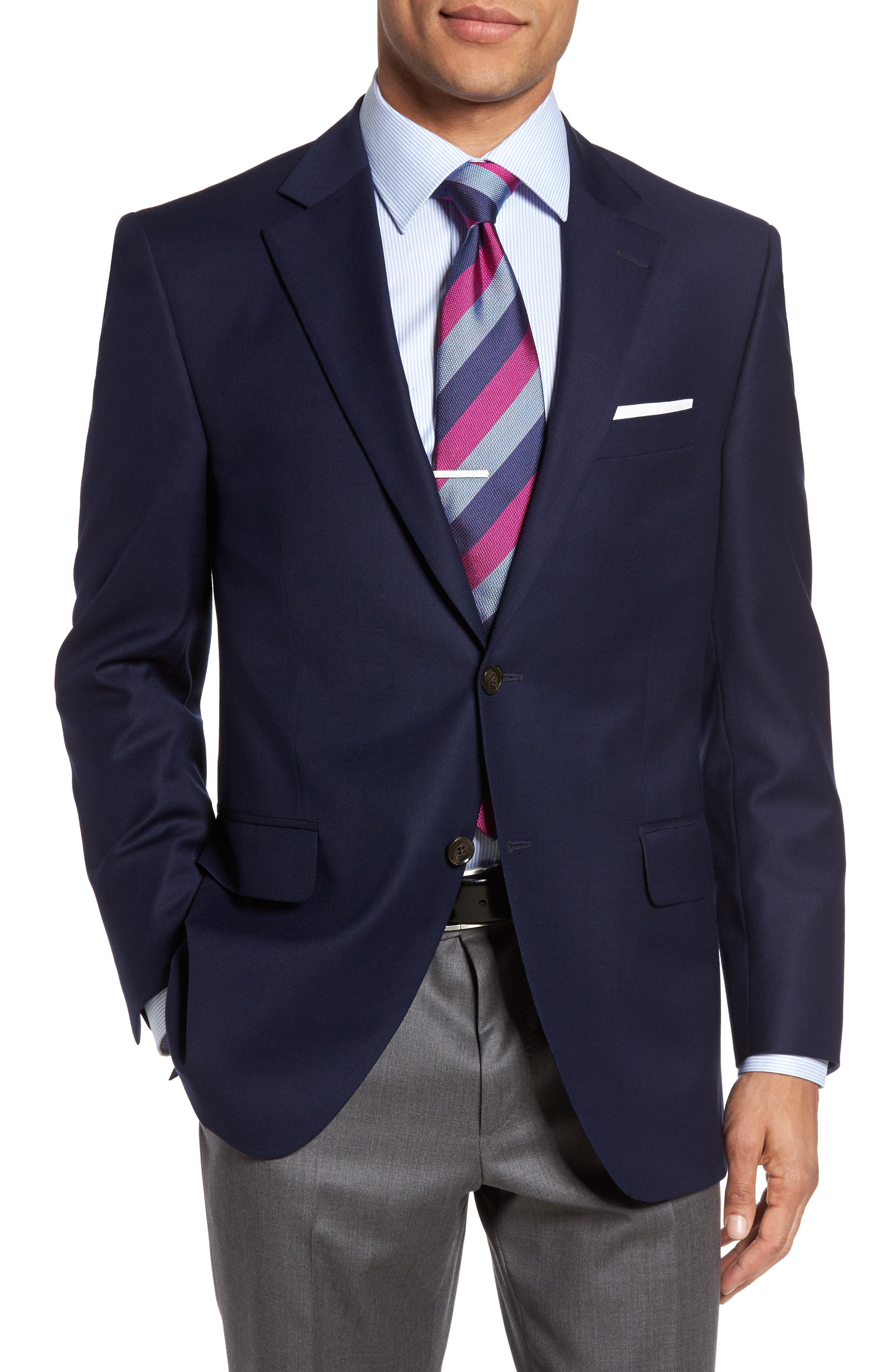 Flynn Classic Fit Wool Blazer,                             Main thumbnail 1, color,                             NAVY