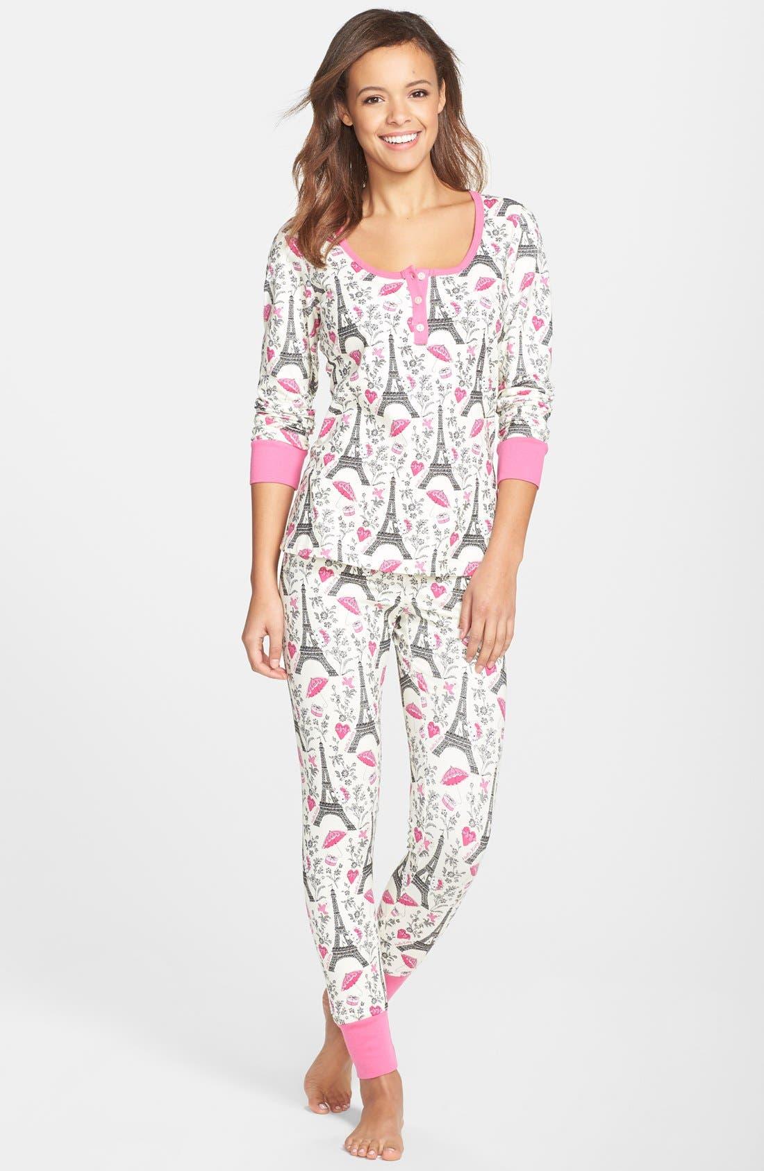 Hello Kitty<sup>®</sup> Print Henley Pajamas,                             Main thumbnail 1, color,                             100