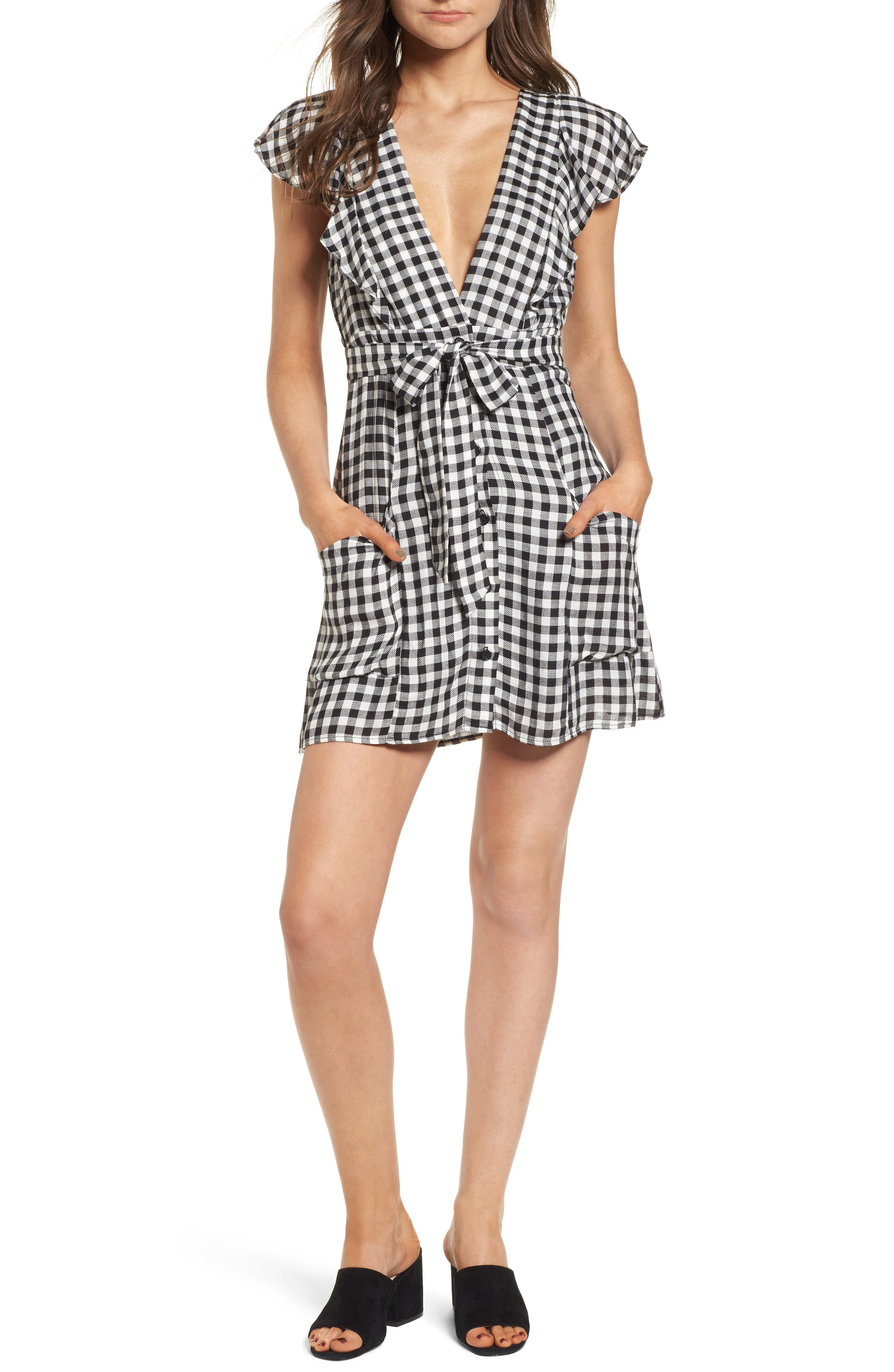 Gingham Minidress,                         Main,                         color, 003