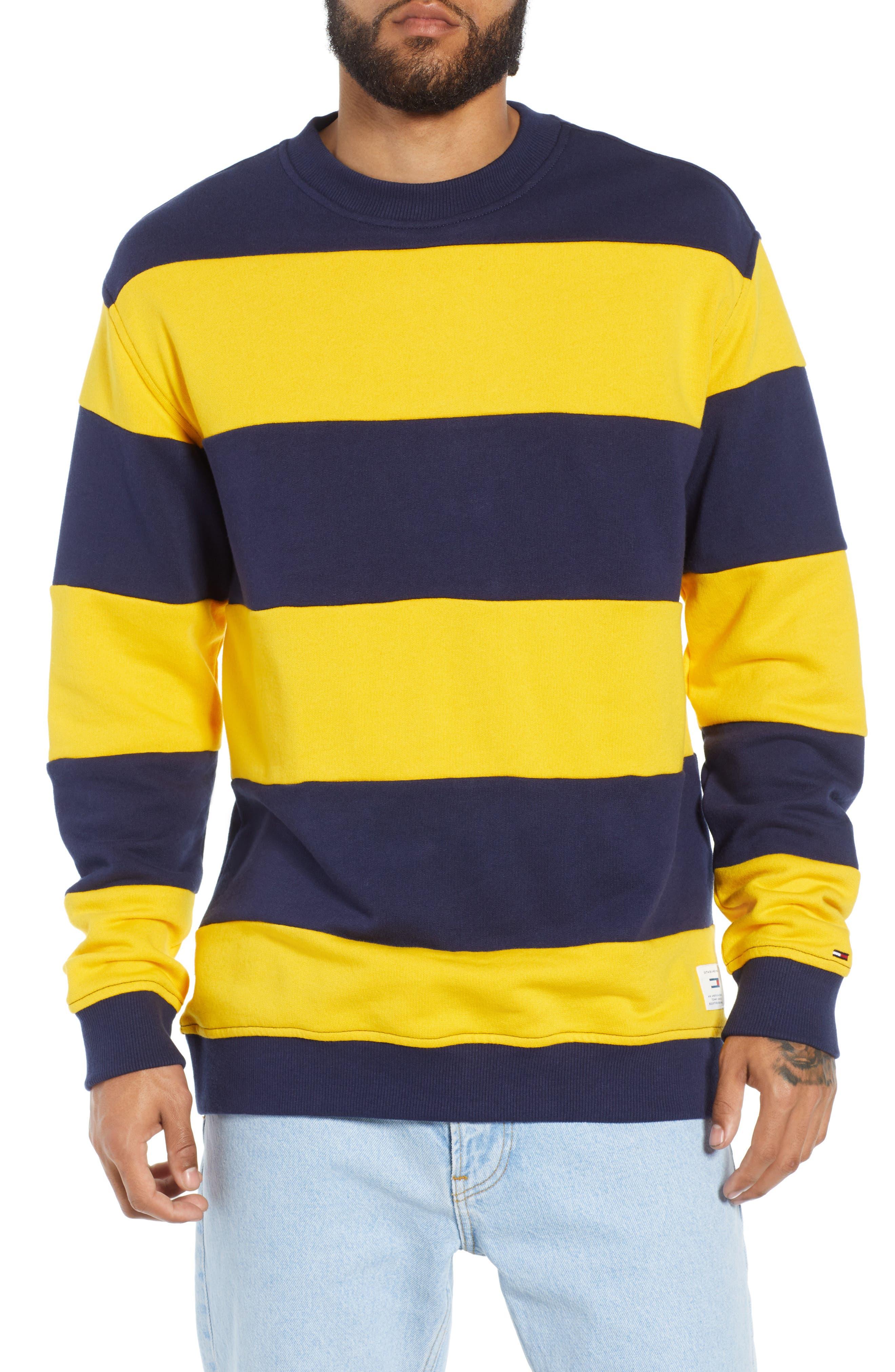 TJM Big Stripe Crew Shirt,                             Main thumbnail 1, color,                             BLACK IRIS / SPECTRA YELLOW