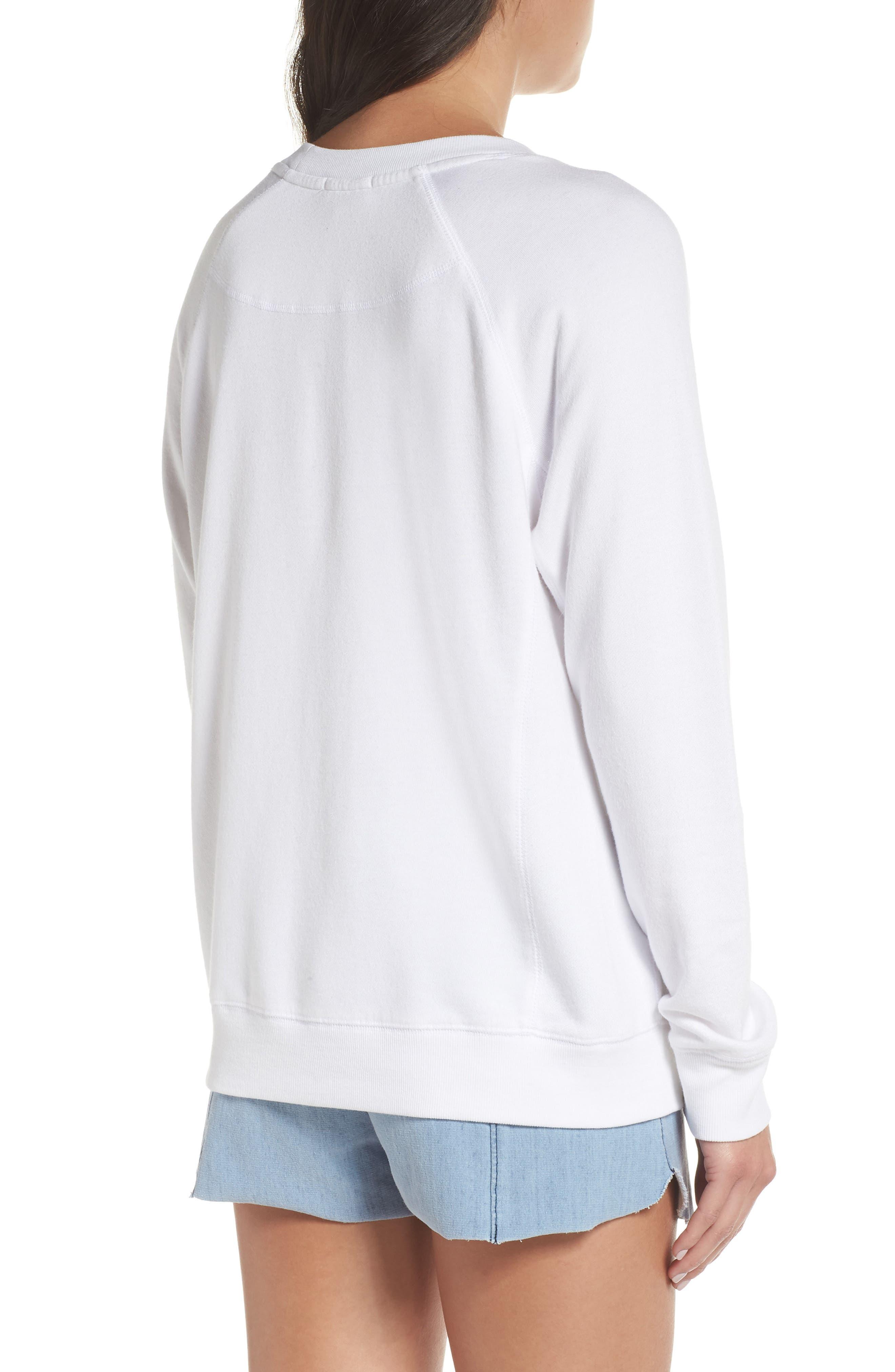 DAVID LERNER,                             I'm So Happy Raglan Pullover,                             Alternate thumbnail 2, color,                             WHITE