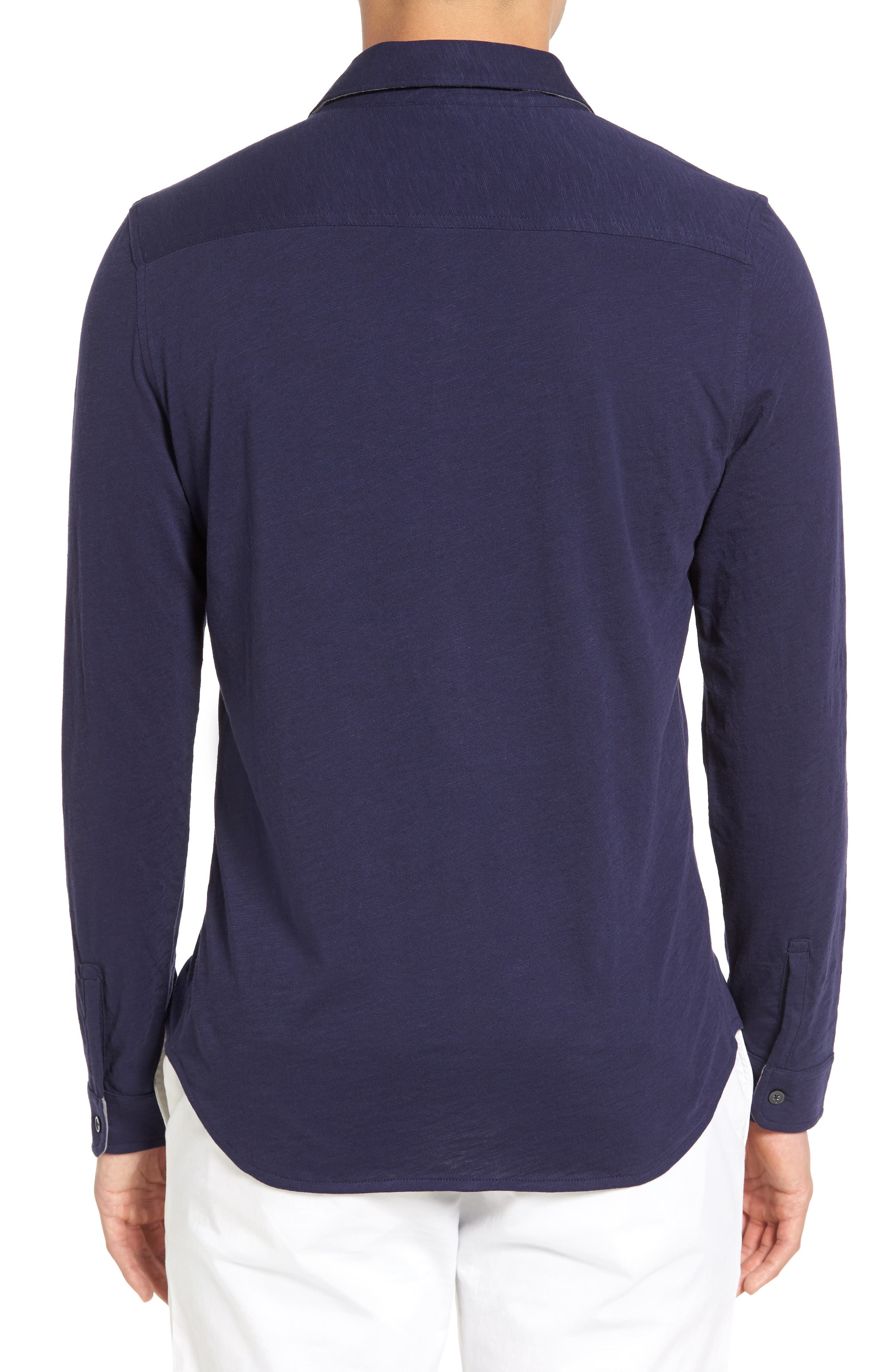 Camara Trim Fit Knit Sport Shirt,                             Alternate thumbnail 5, color,