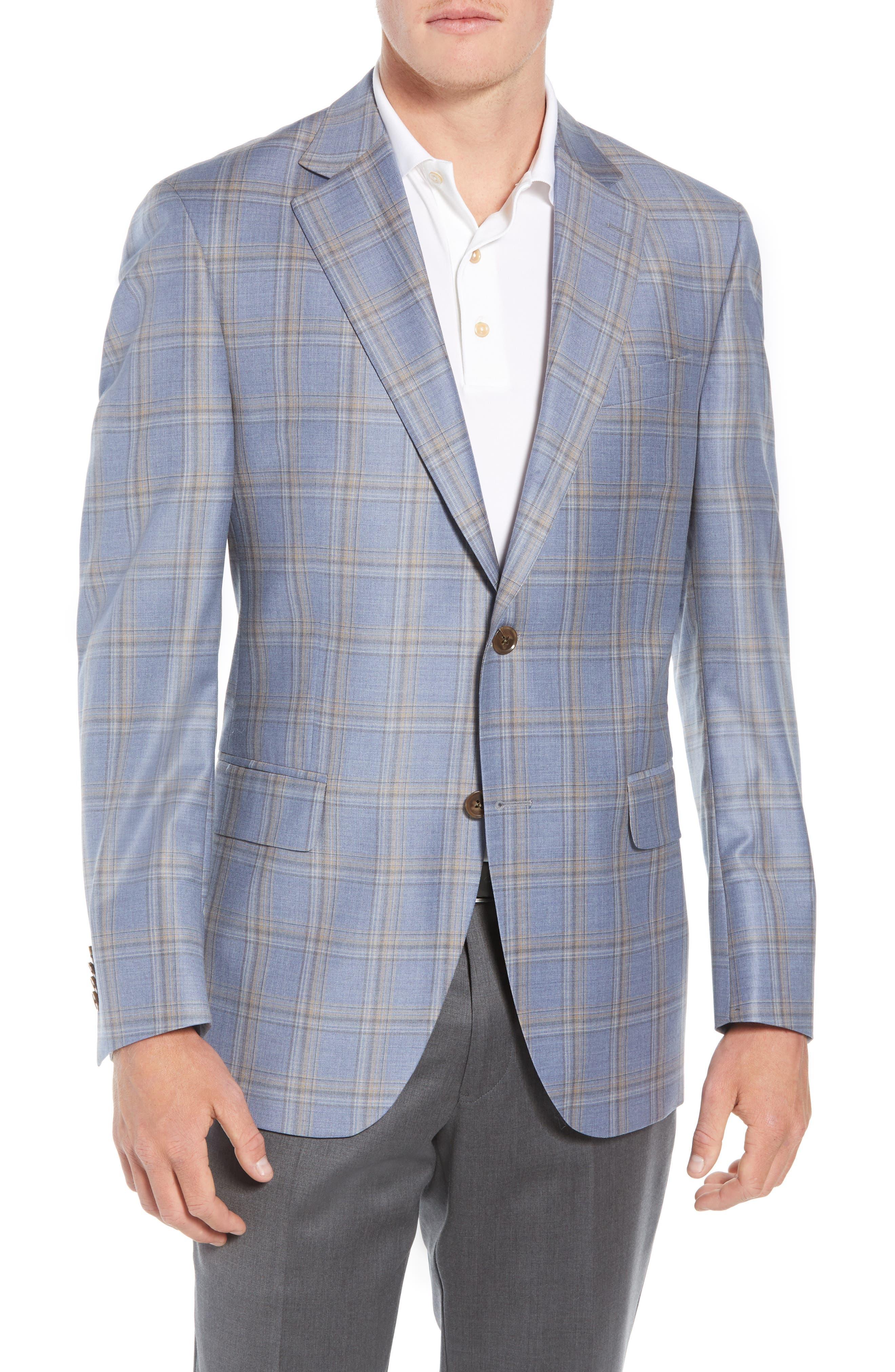 PETER MILLAR,                             Flynn Classic Fit Wool Sport Coat,                             Main thumbnail 1, color,                             LIGHT BLUE