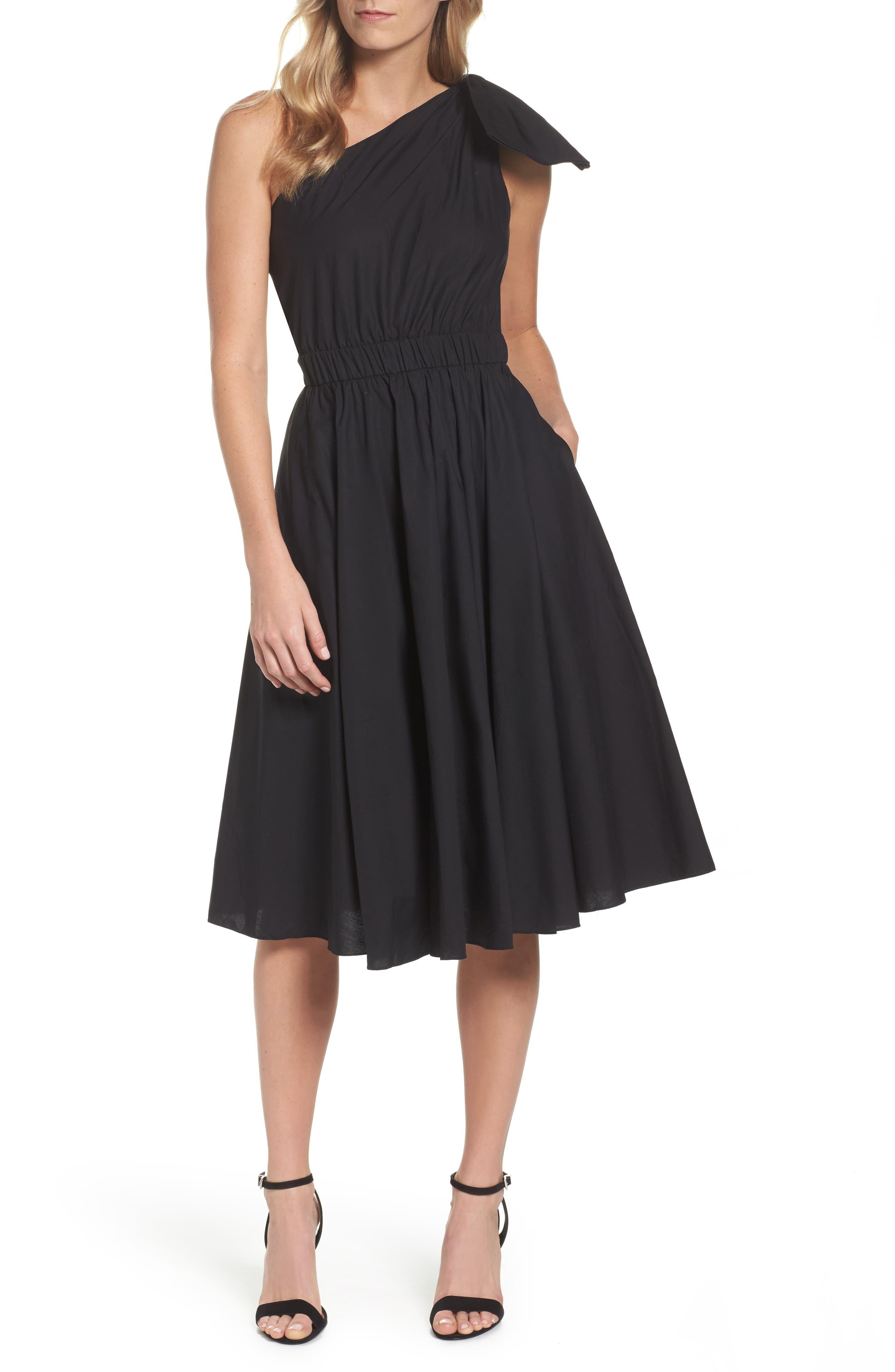 One-Shoulder Fit & Flare Dress,                             Main thumbnail 1, color,                             001