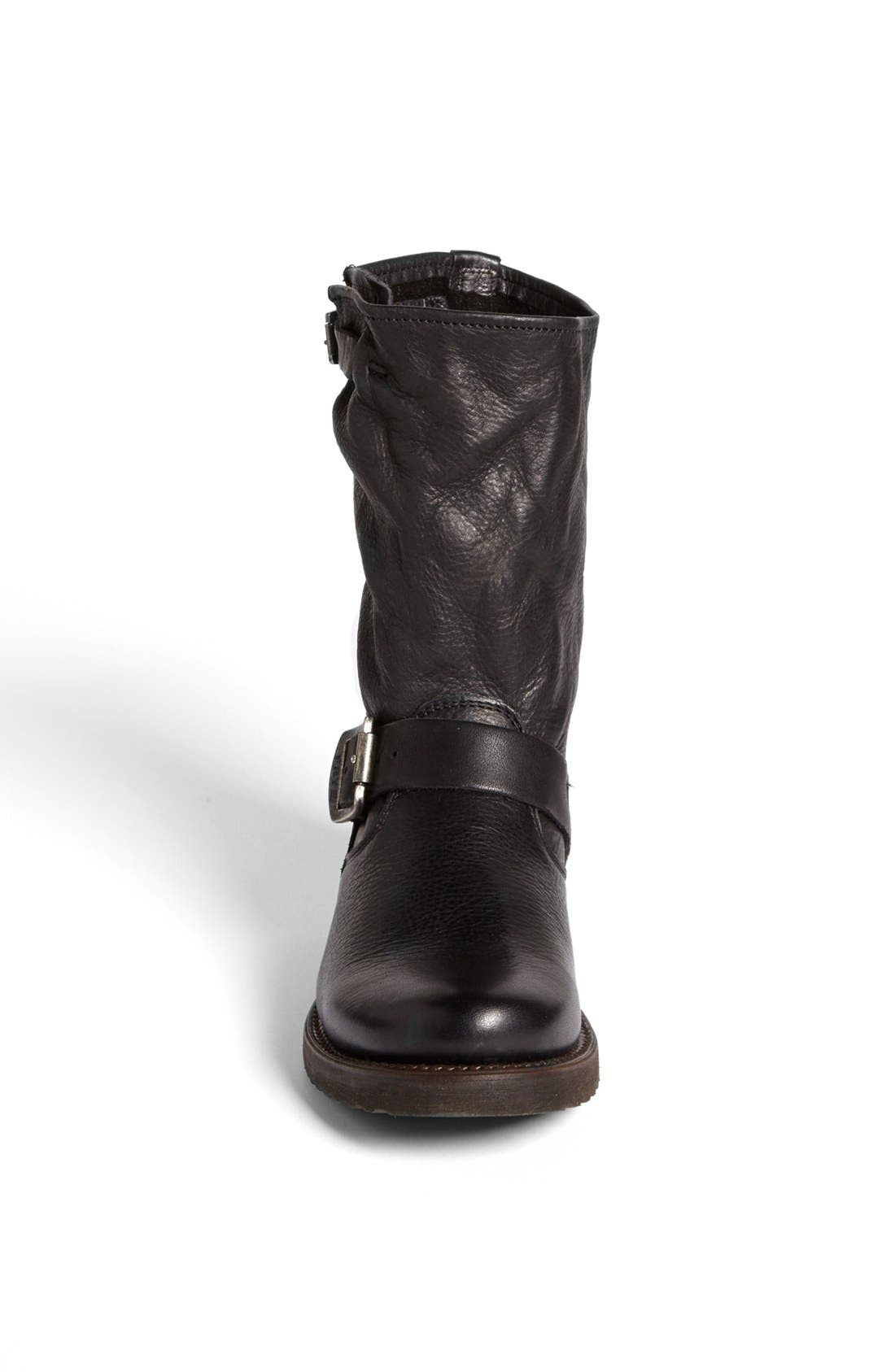 'Veronica Short' Slouchy Boot,                             Alternate thumbnail 4, color,                             BLACK LEATHER