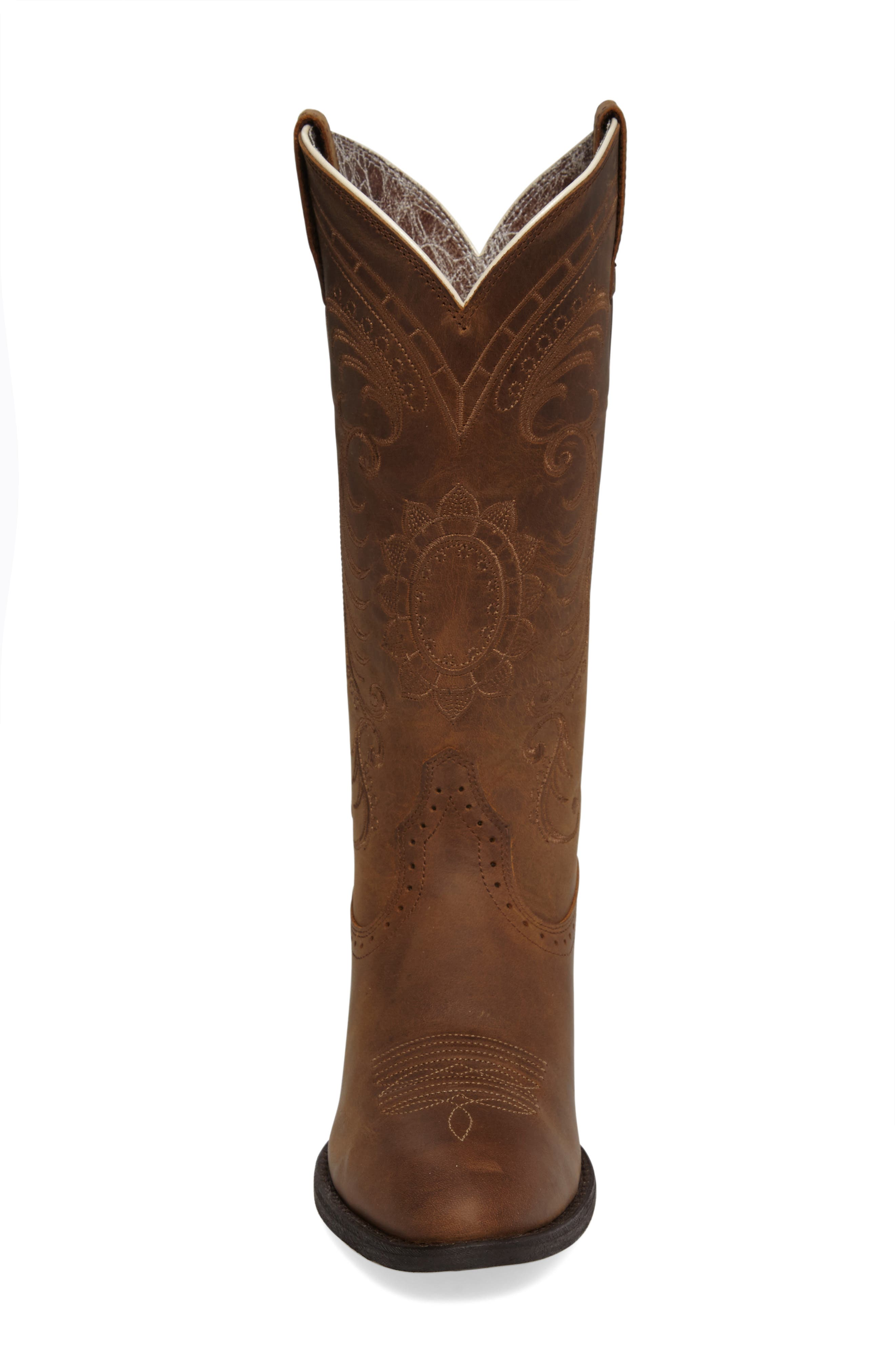 New West Collection - Magnolia Western Boot,                             Alternate thumbnail 3, color,                             DISTRESSED BROWN LEATHER
