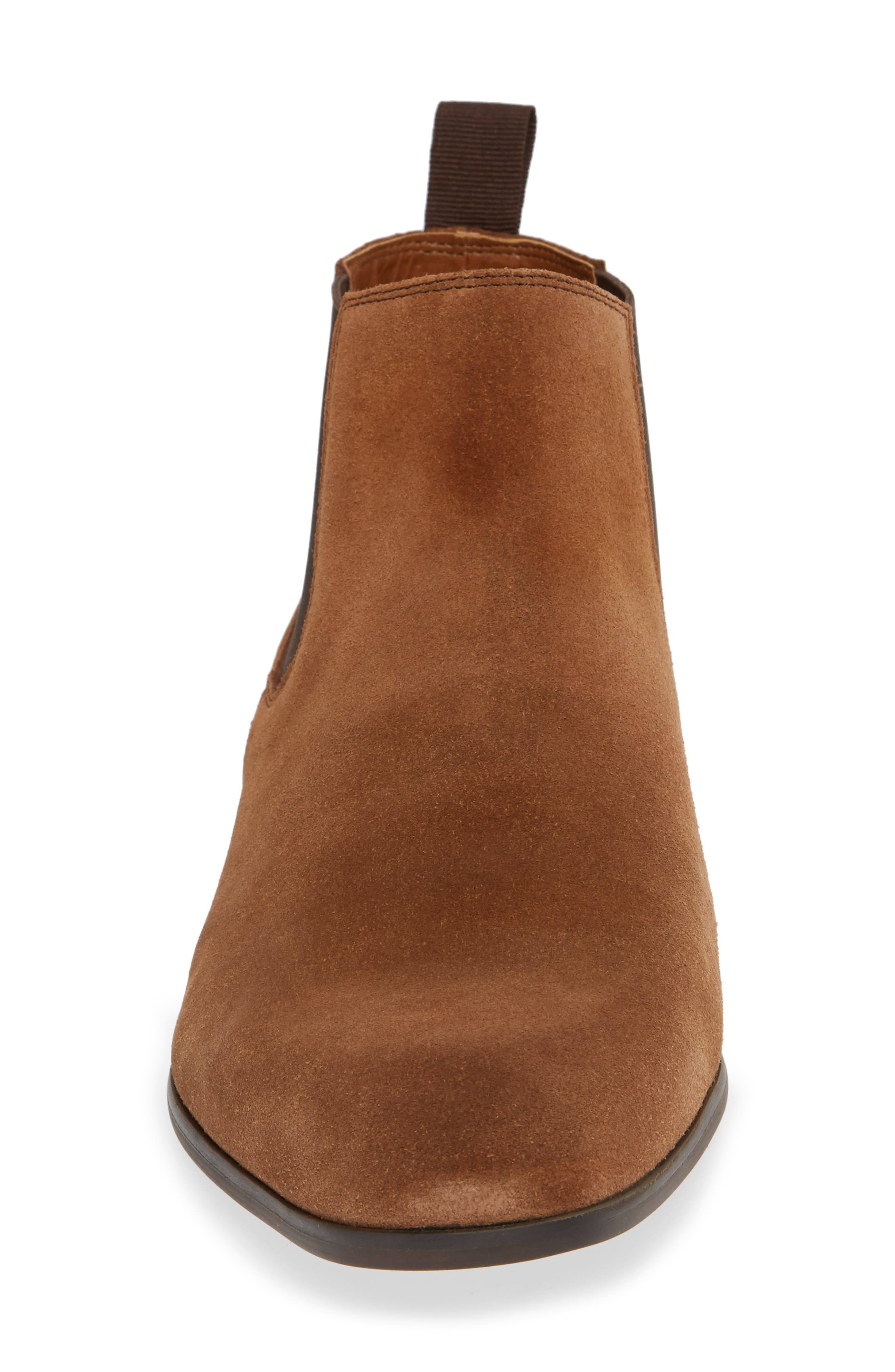 Edward Chelsea Boot,                             Alternate thumbnail 4, color,                             CHESTNUT SUEDE