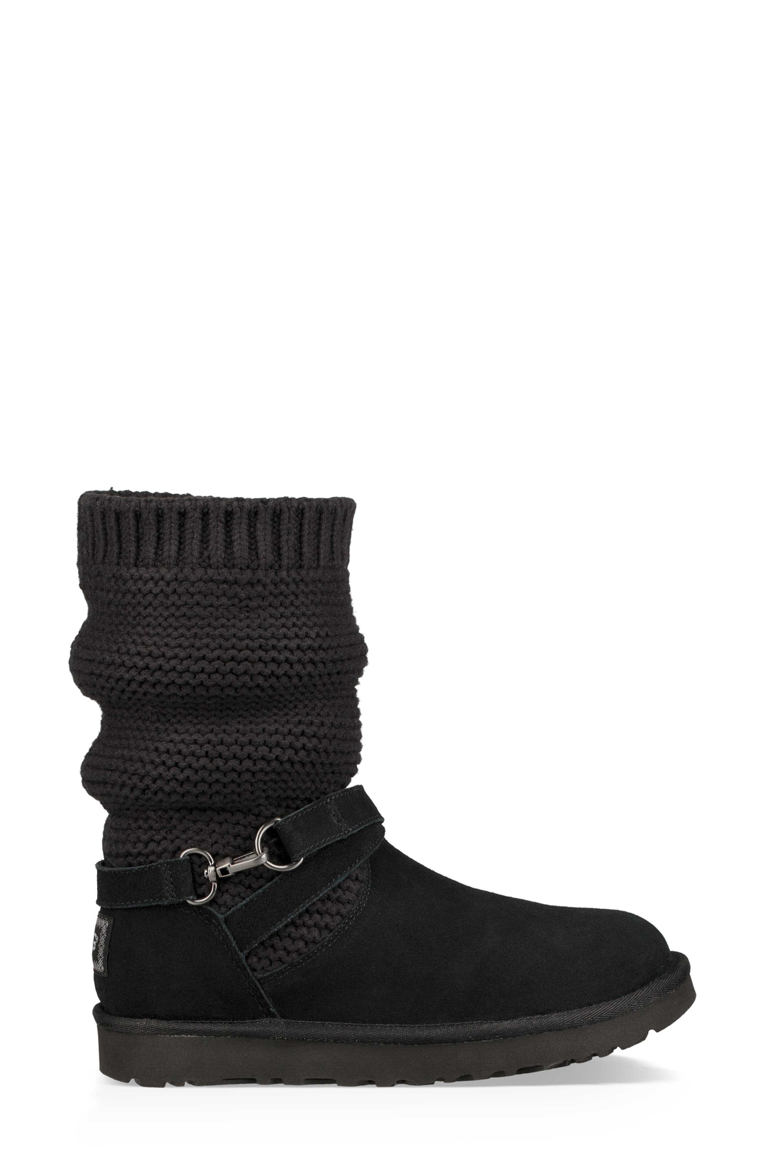 UGGpure<sup>™</sup> Strappy Purl Knit Bootie,                             Alternate thumbnail 4, color,                             BLACK SUEDE