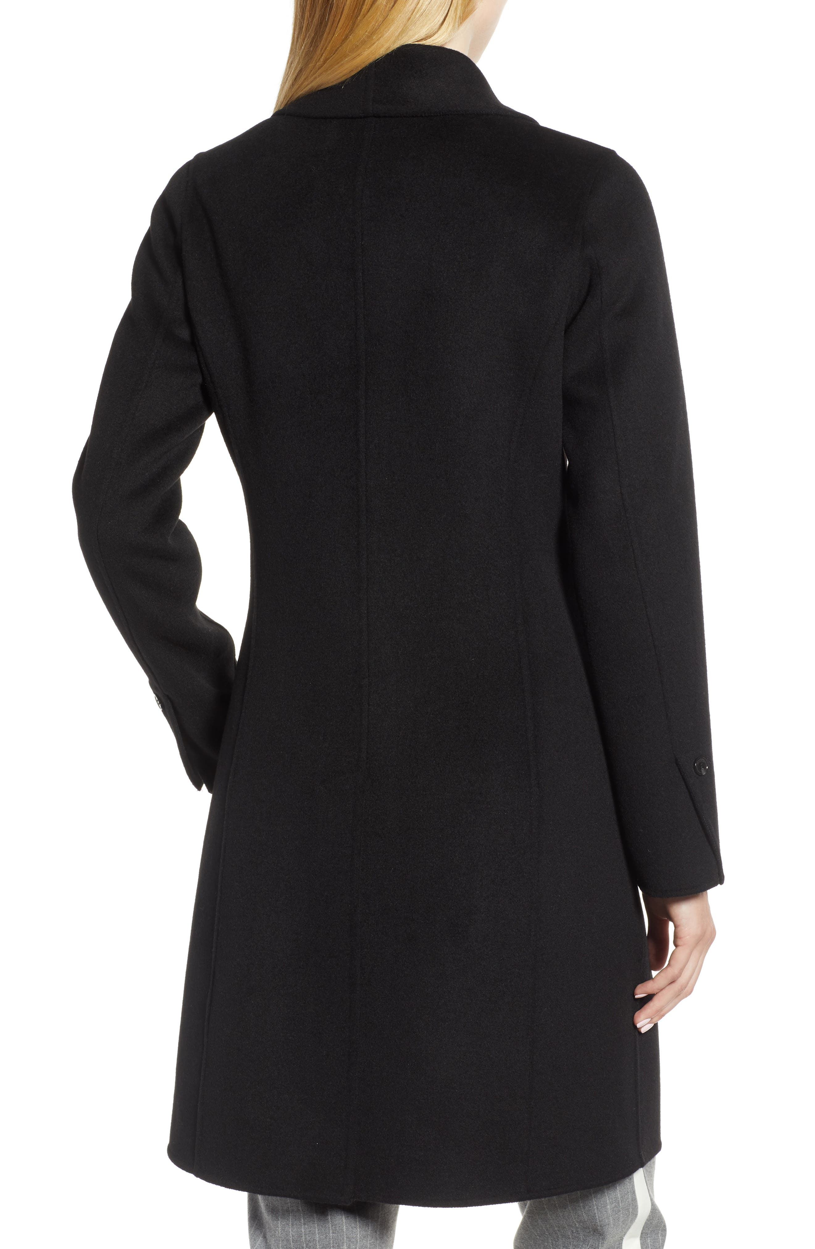 Caleigh Fitted Wool Blend Coat,                             Alternate thumbnail 2, color,                             BLACK