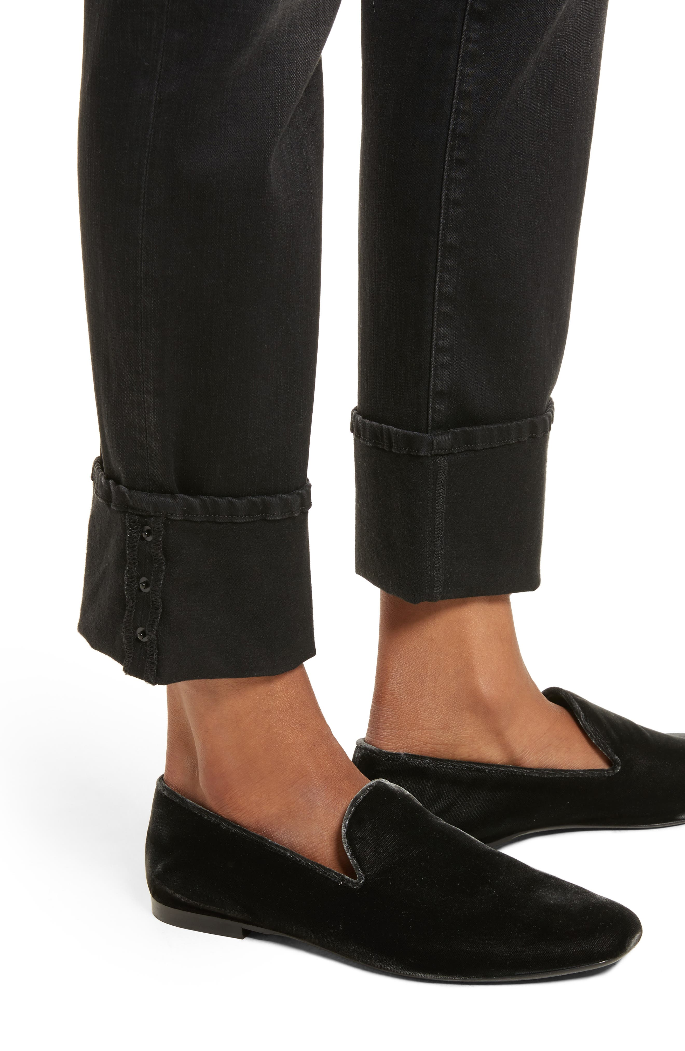 Le High Straight Leg Cuffed Jeans,                             Alternate thumbnail 4, color,                             001
