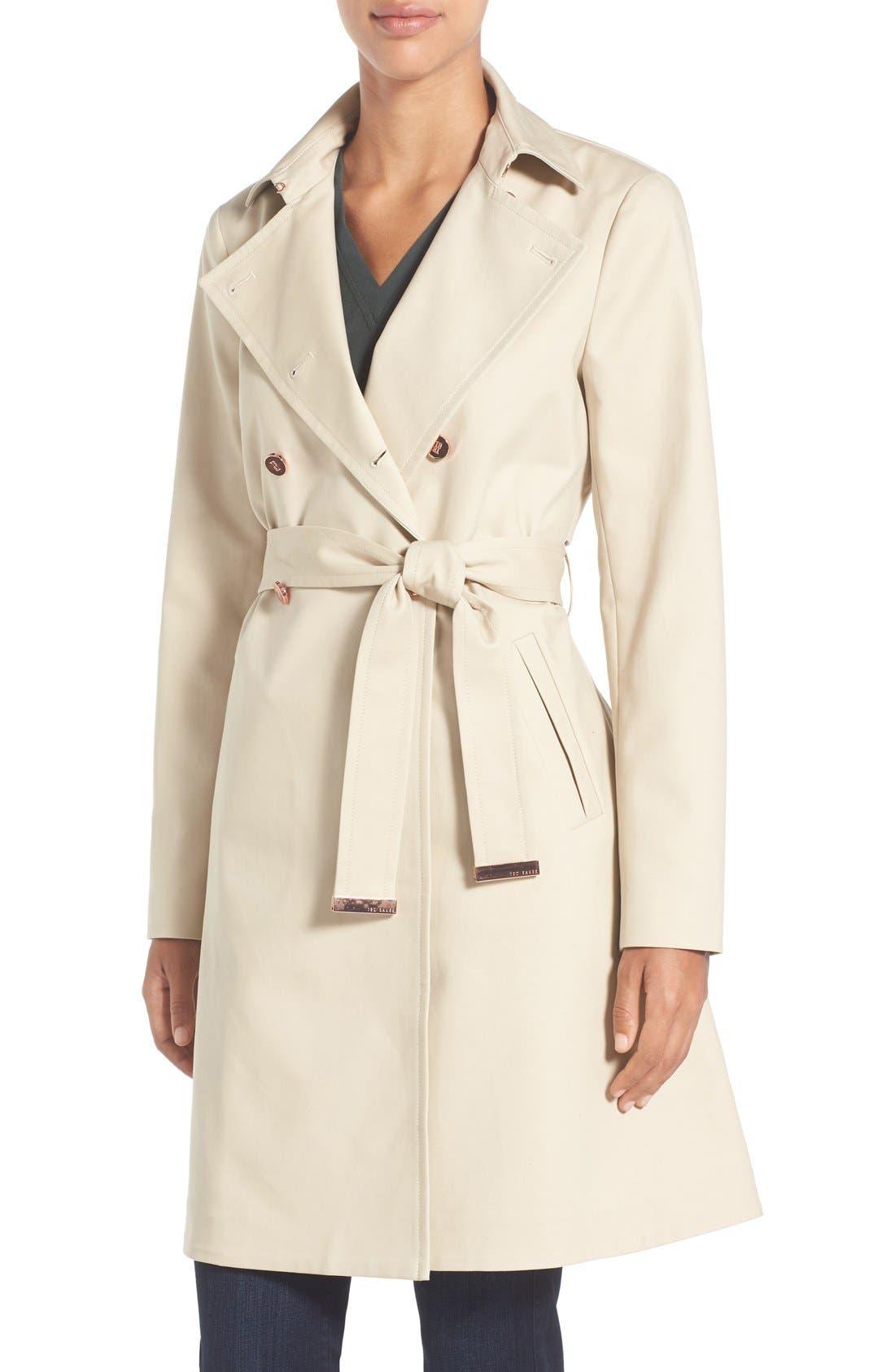 TED BAKER LONDON Flared Skirt Trench Coat, Main, color, 253