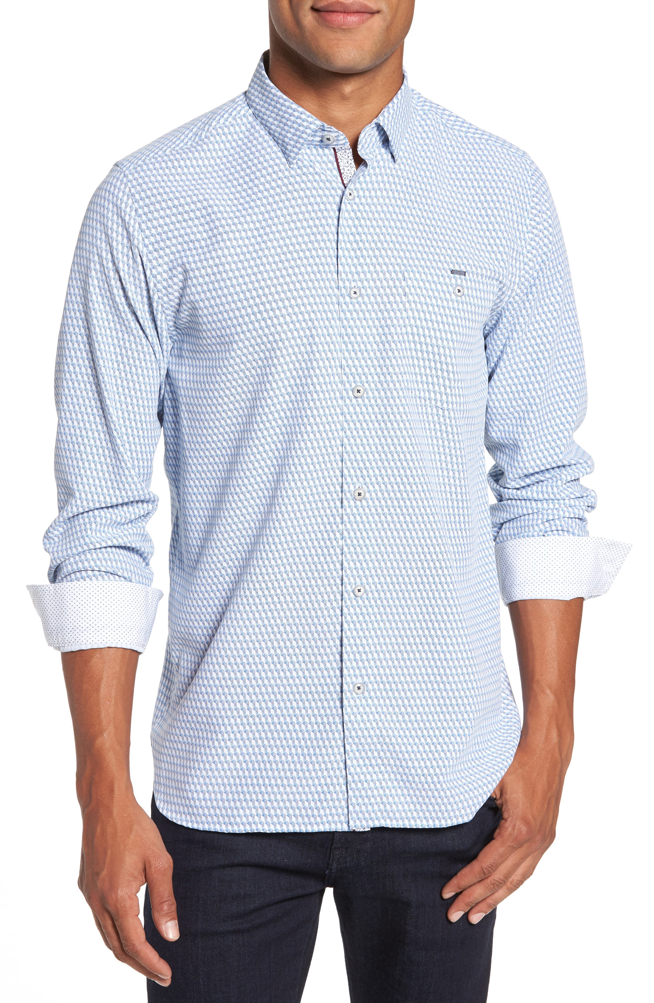 Wyne Slim Fit Polynosic Geo Print Sport Shirt,                         Main,                         color, 110