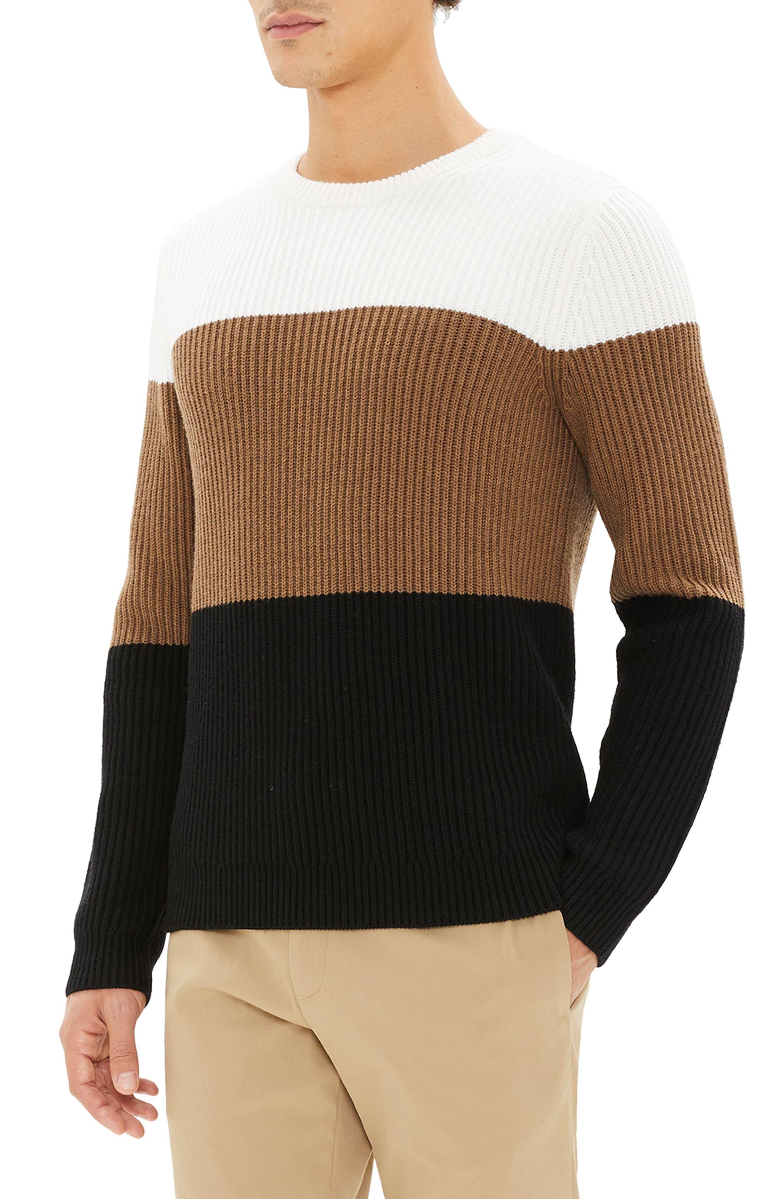 Romman Colorblock Merino Wool Sweater,                             Alternate thumbnail 3, color,                             110
