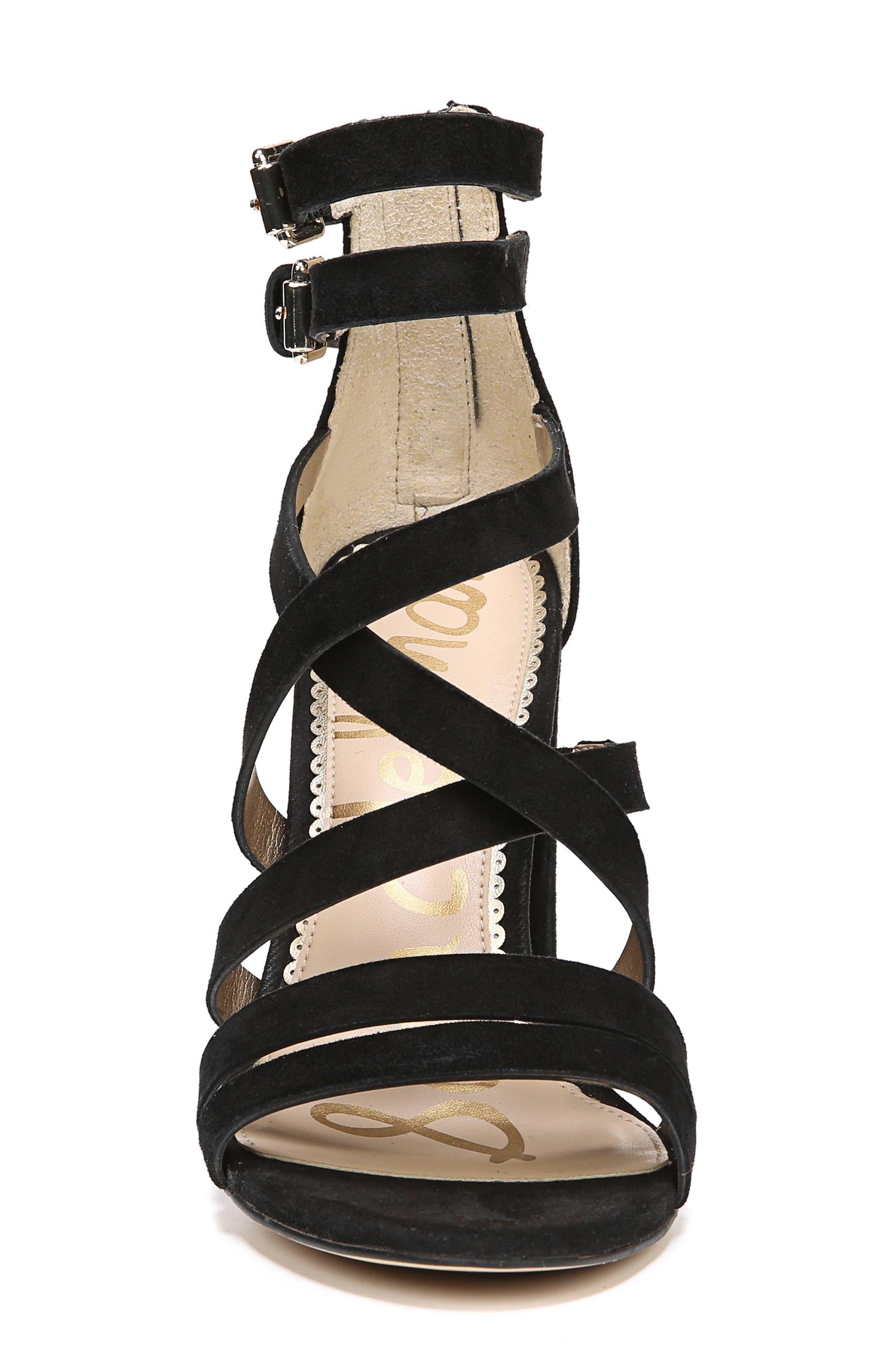 Yema Block Heel Sandal,                             Alternate thumbnail 4, color,                             BLACK SUEDE