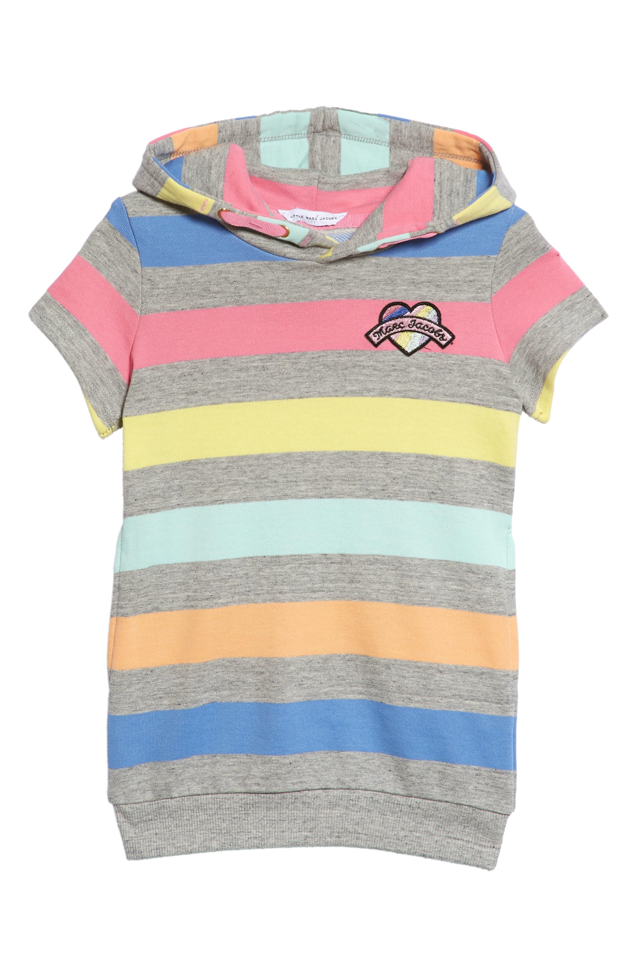 Mini Me Stripe Hooded Sweatshirt Dress,                             Main thumbnail 1, color,                             060