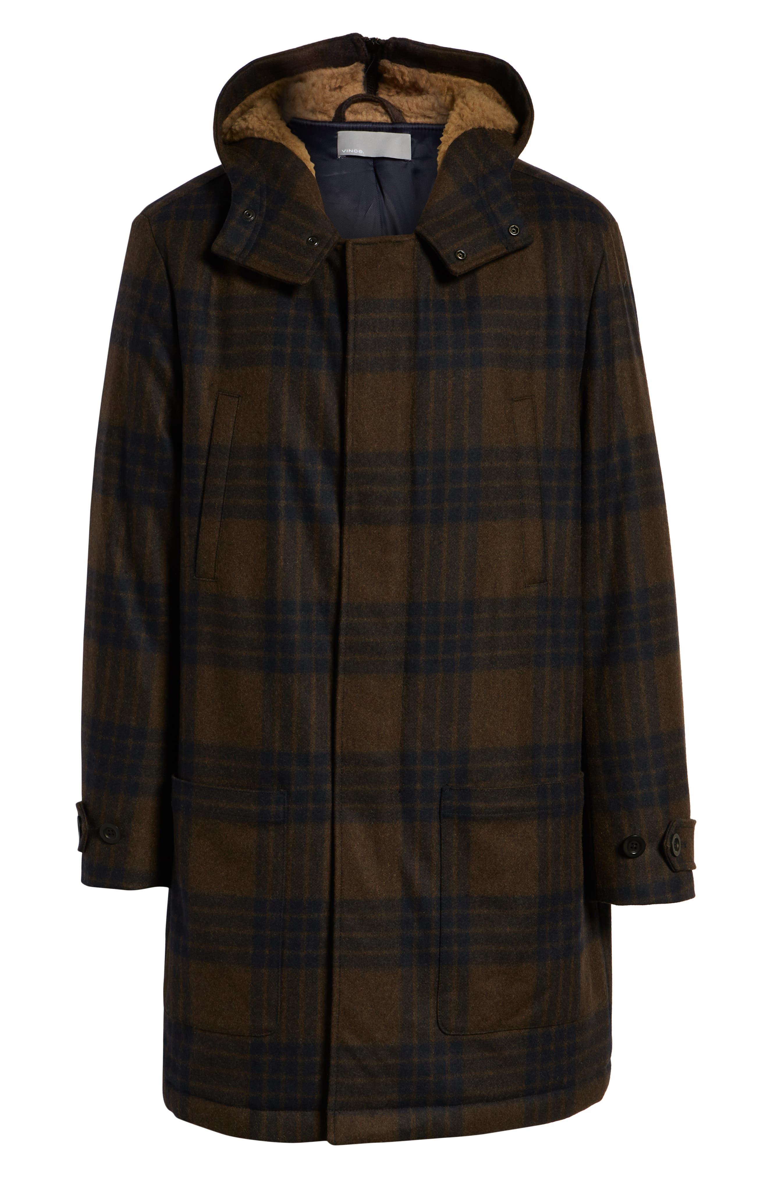 Plaid Duffle Coat with Faux Shearling Trim,                             Alternate thumbnail 6, color,                             H. REDWOOD