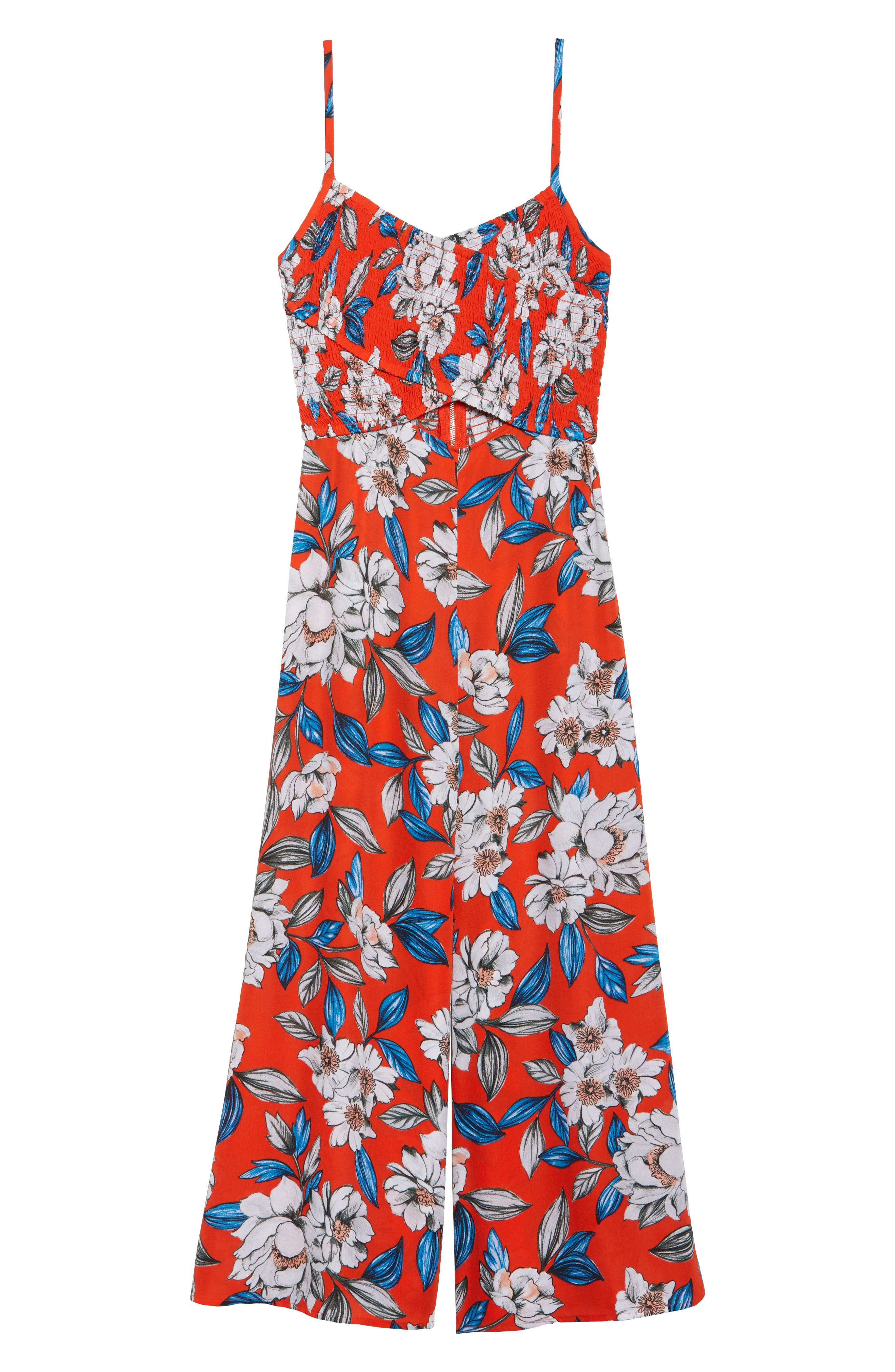 Full Bloom Cutout Floral Jumpsuit,                             Alternate thumbnail 6, color,                             619
