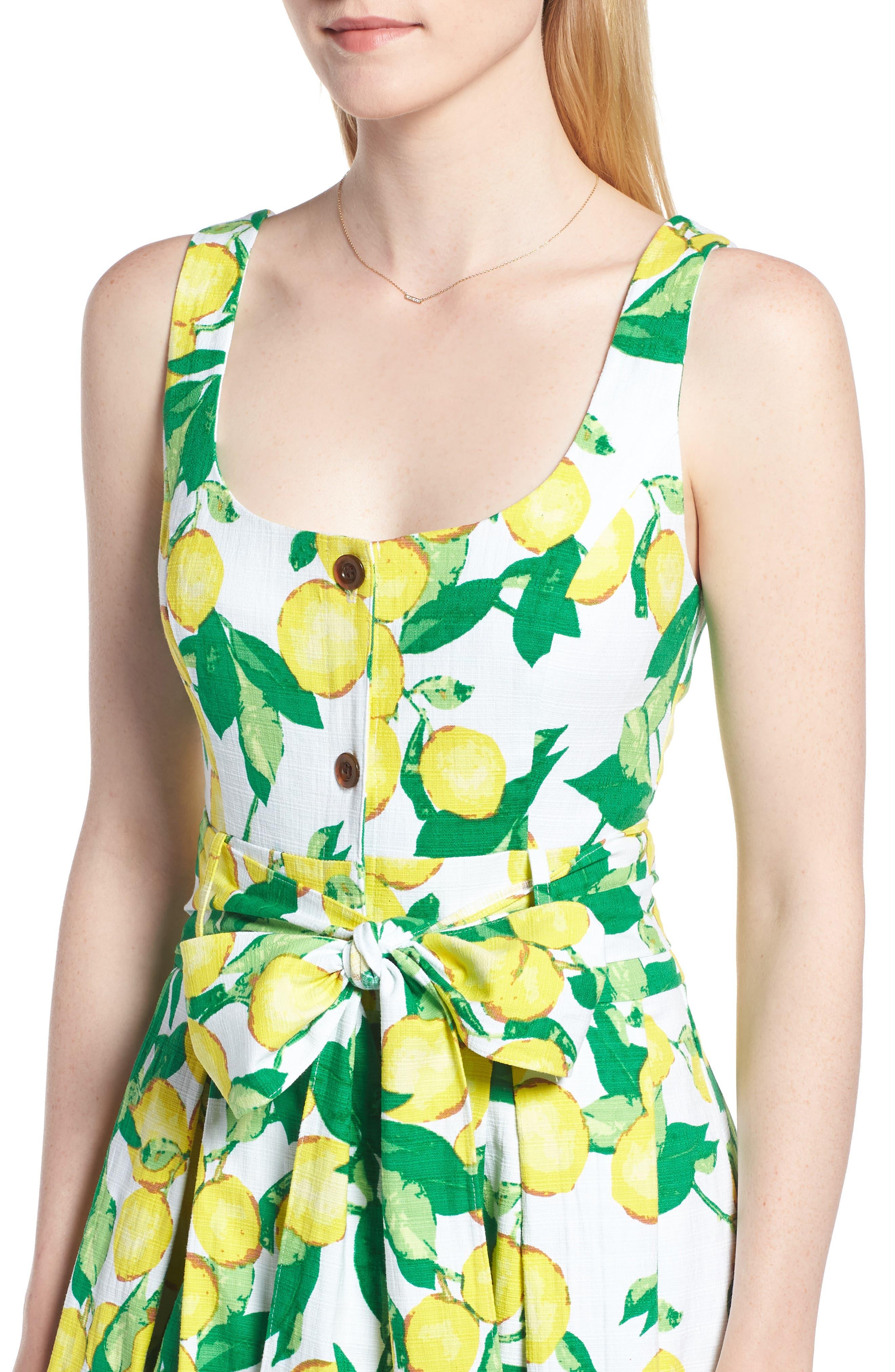 Button Front Lemon Print Dress,                             Alternate thumbnail 4, color,                             700