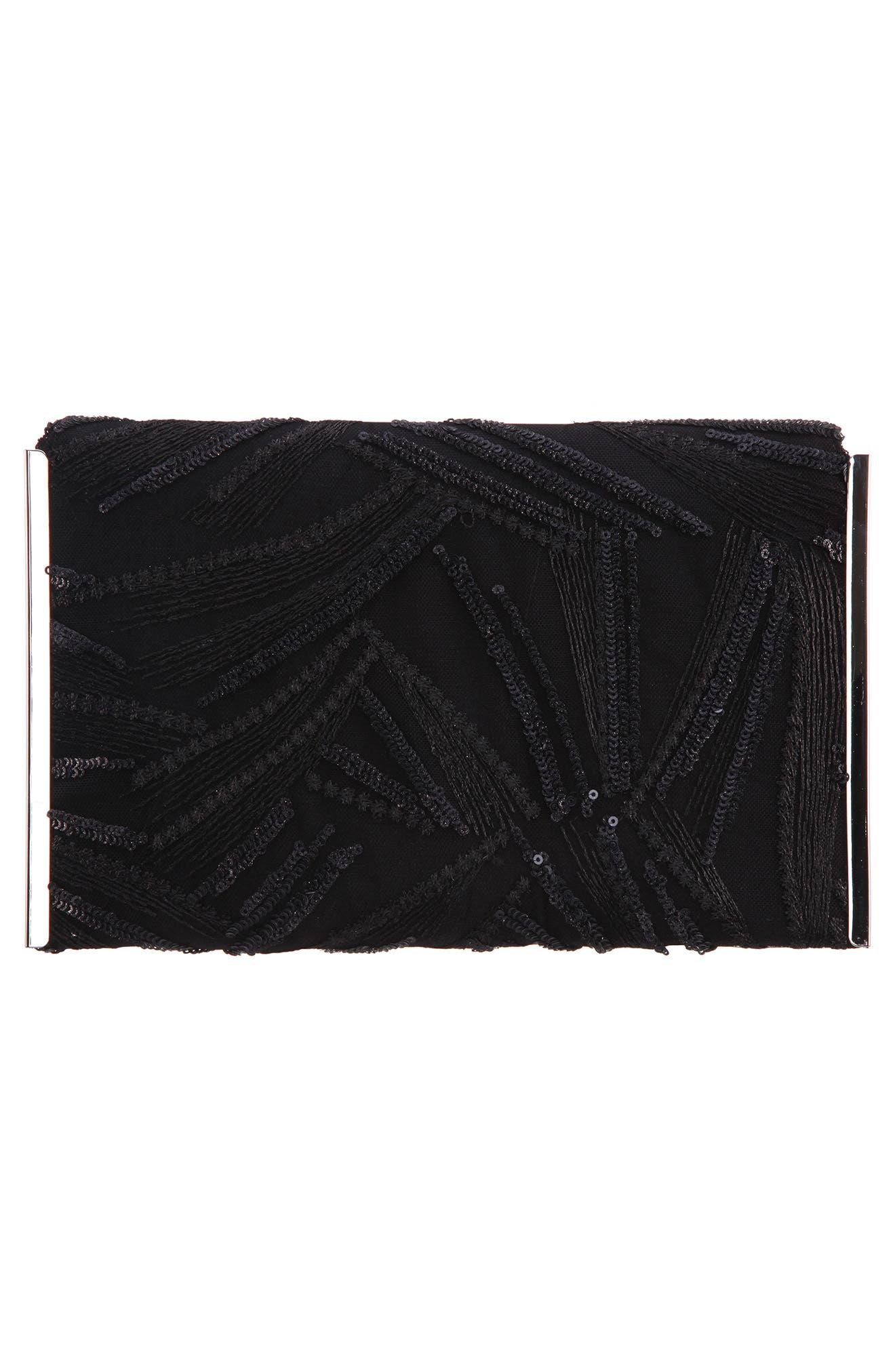 Embroidery Envelope Clutch Bag,                             Alternate thumbnail 2, color,                             BLACK
