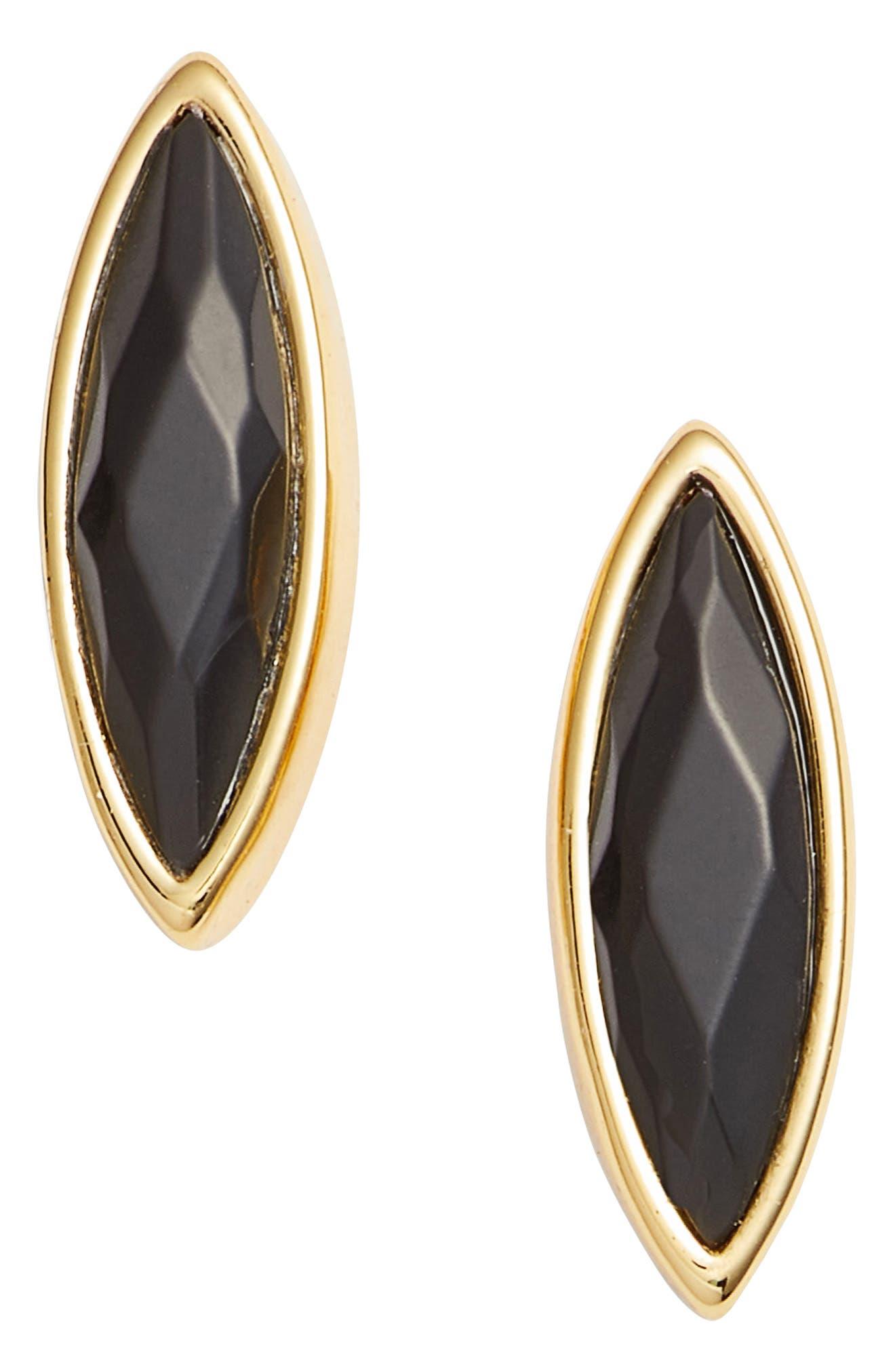 Palisades Stud Earrings,                         Main,                         color, BLACK DYED JADE/ GOLD