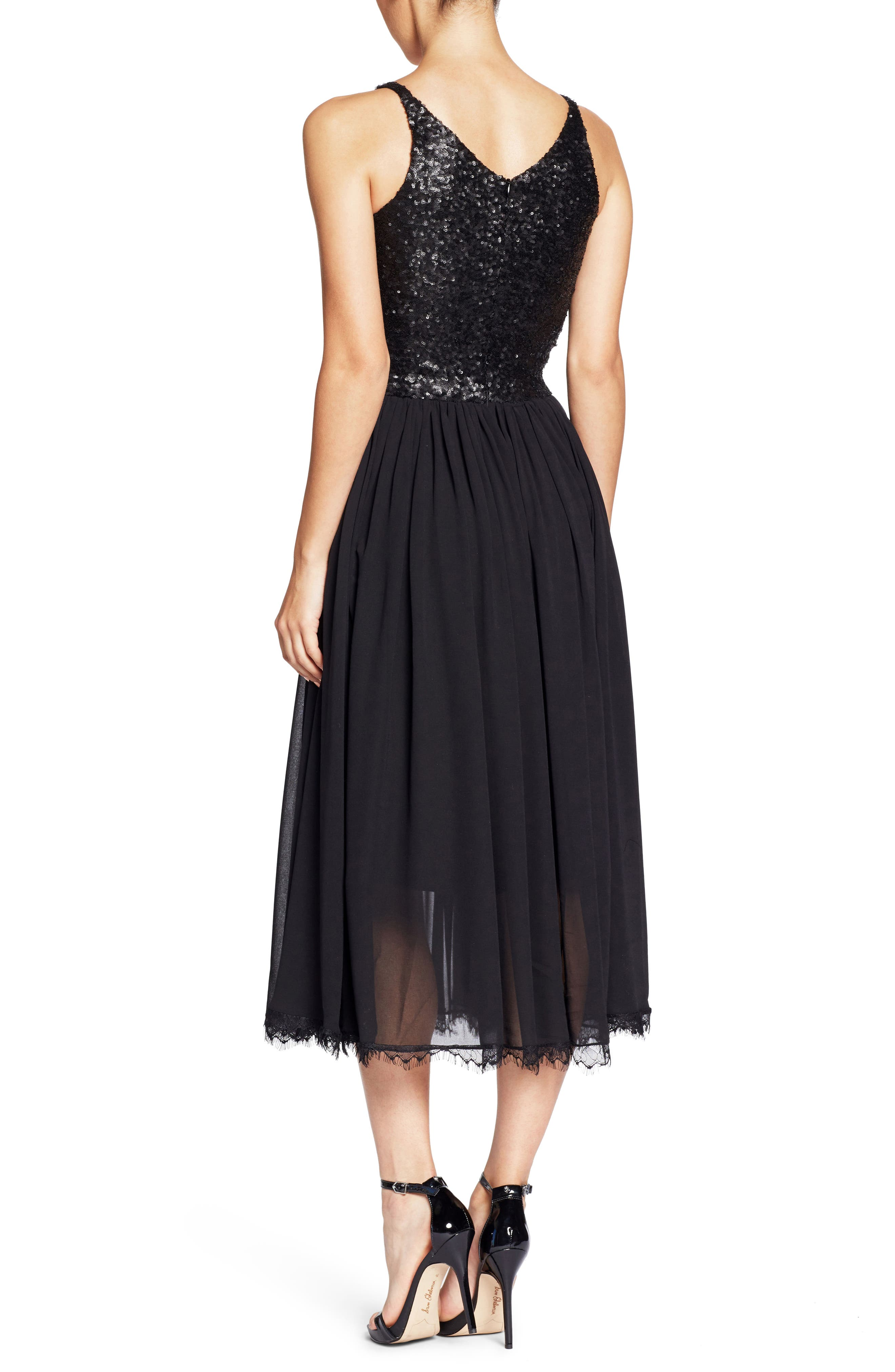 Tracy Plunging Sequin Bodice Tea Length Dress,                             Alternate thumbnail 2, color,                             008