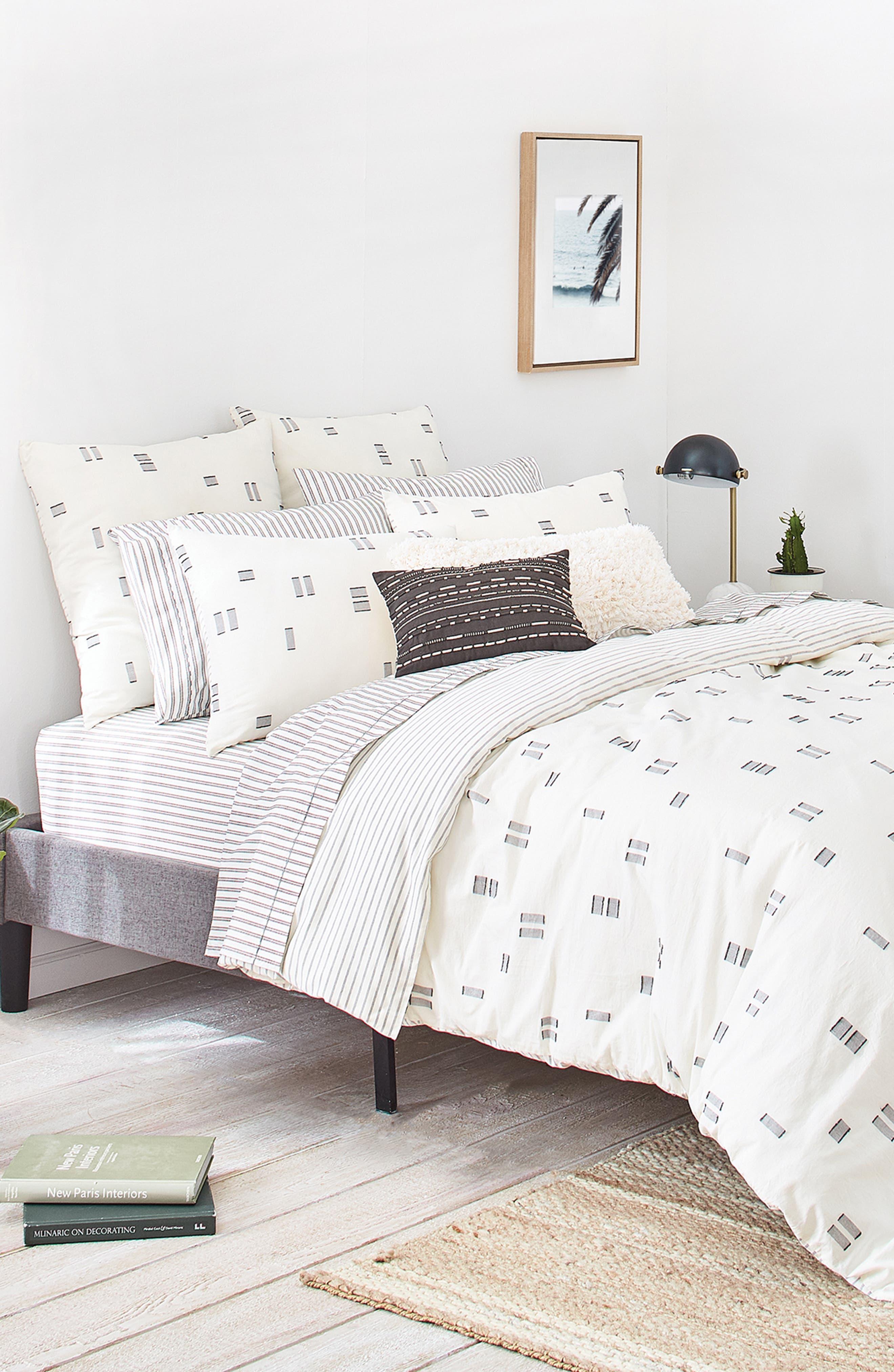 Crosshatched Comforter & Sham Set,                             Alternate thumbnail 6, color,                             IVORY