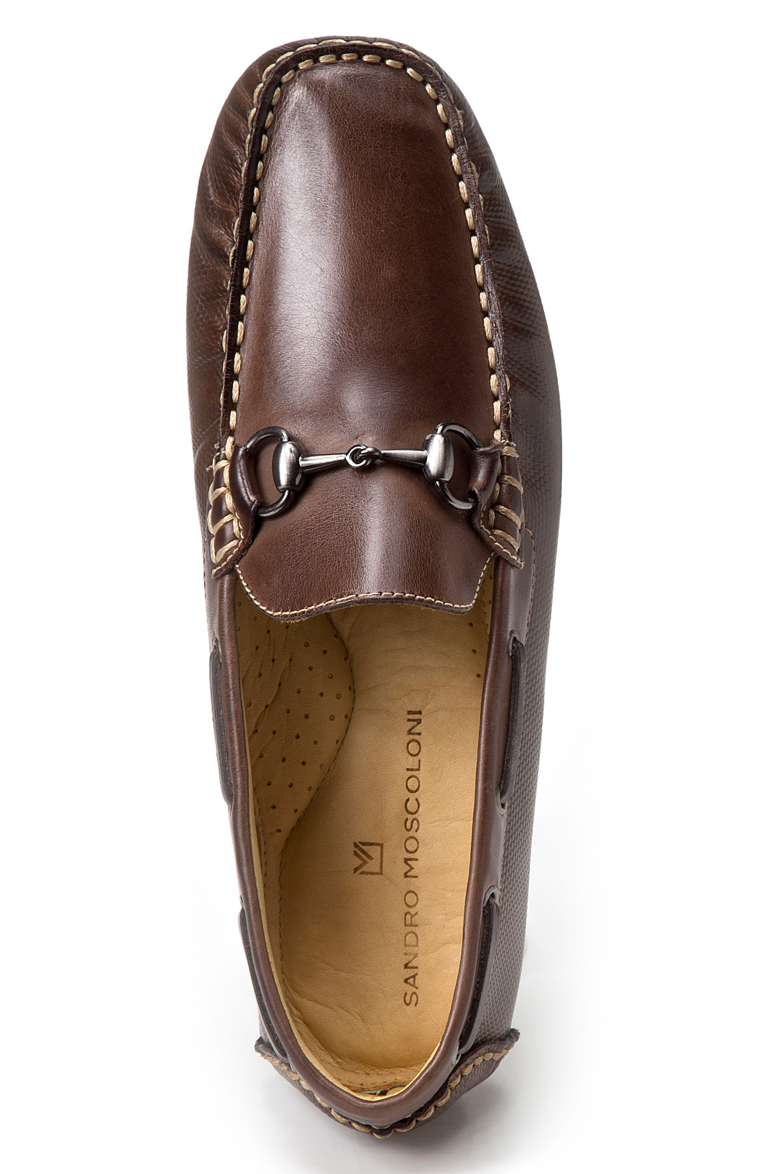 Neil Embossed Loafer,                             Alternate thumbnail 3, color,                             BROWN LEATHER