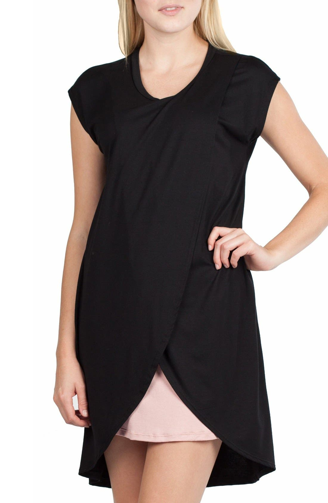 SAVI MOM,                             Lille Maternity/Nursing Tunic Dress,                             Alternate thumbnail 2, color,                             BLACK/ DUSTY PINK CONTRAST