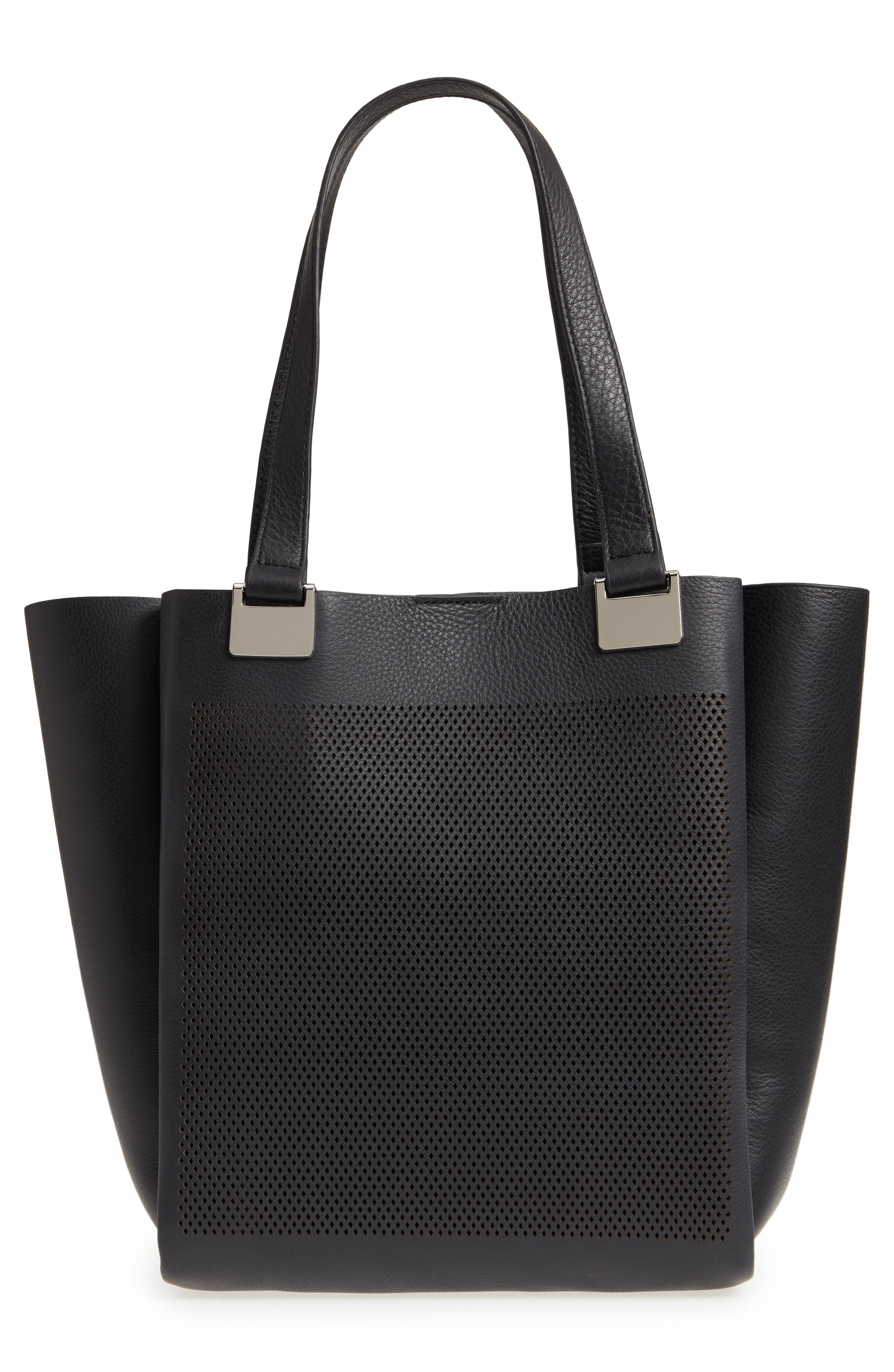 Beatt Perforated Leather Tote,                             Alternate thumbnail 3, color,                             001