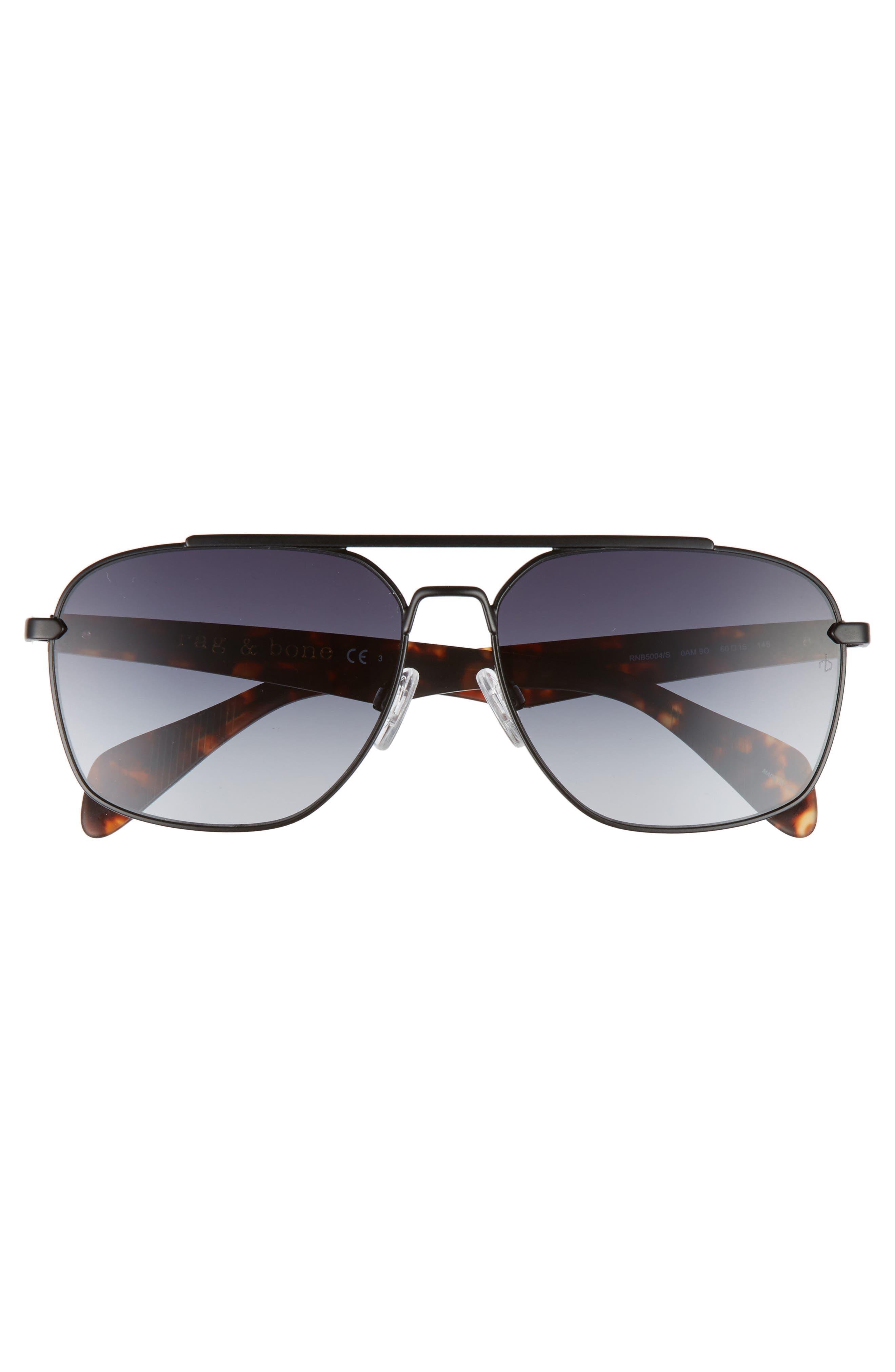60mm Gradient Navigator Sunglasses,                             Alternate thumbnail 2, color,                             MATTE BLACK/ HAVANA