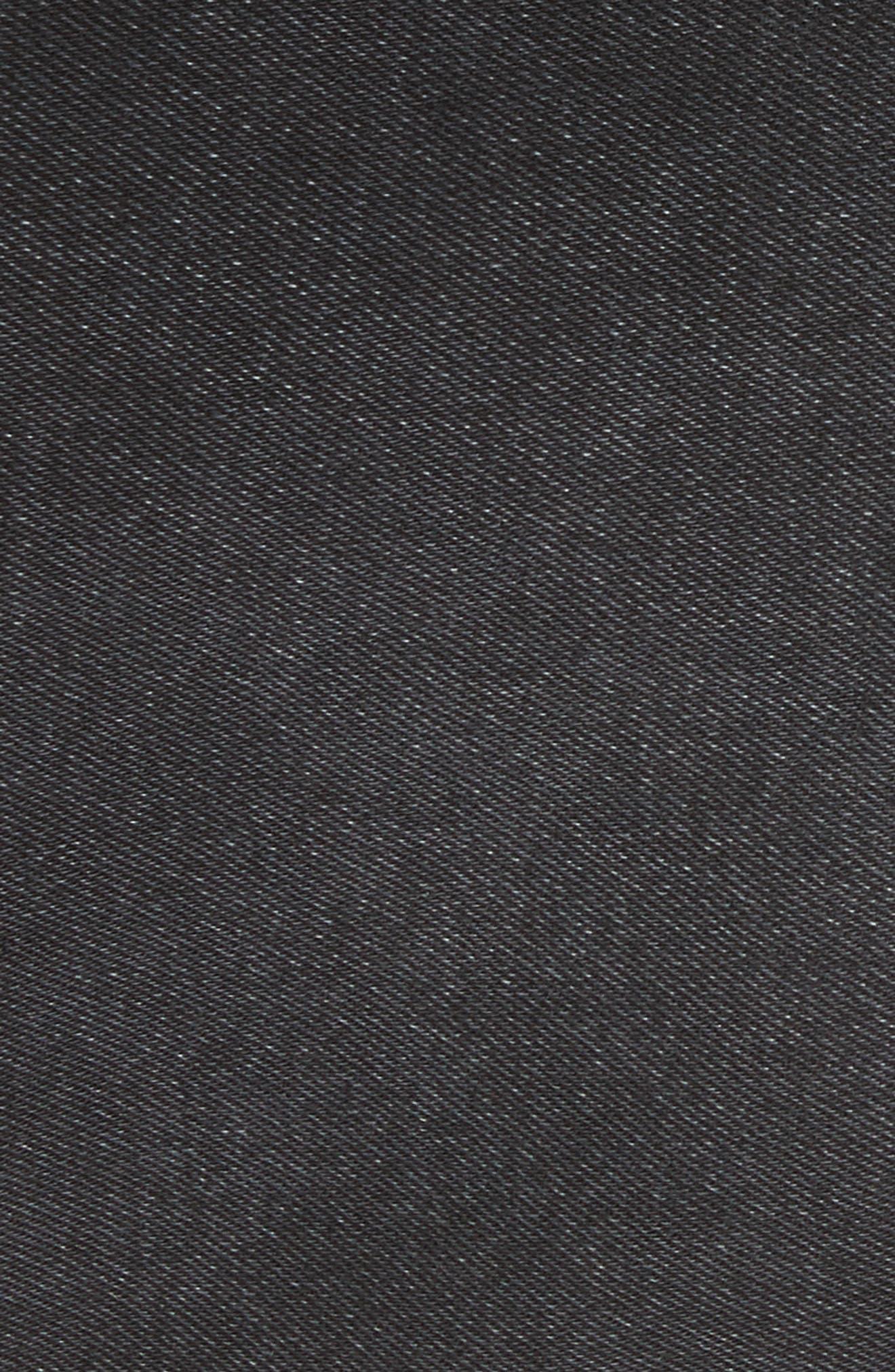 FREE PEOPLE,                             Stripe Cutoff Denim Miniskirt,                             Alternate thumbnail 5, color,                             001