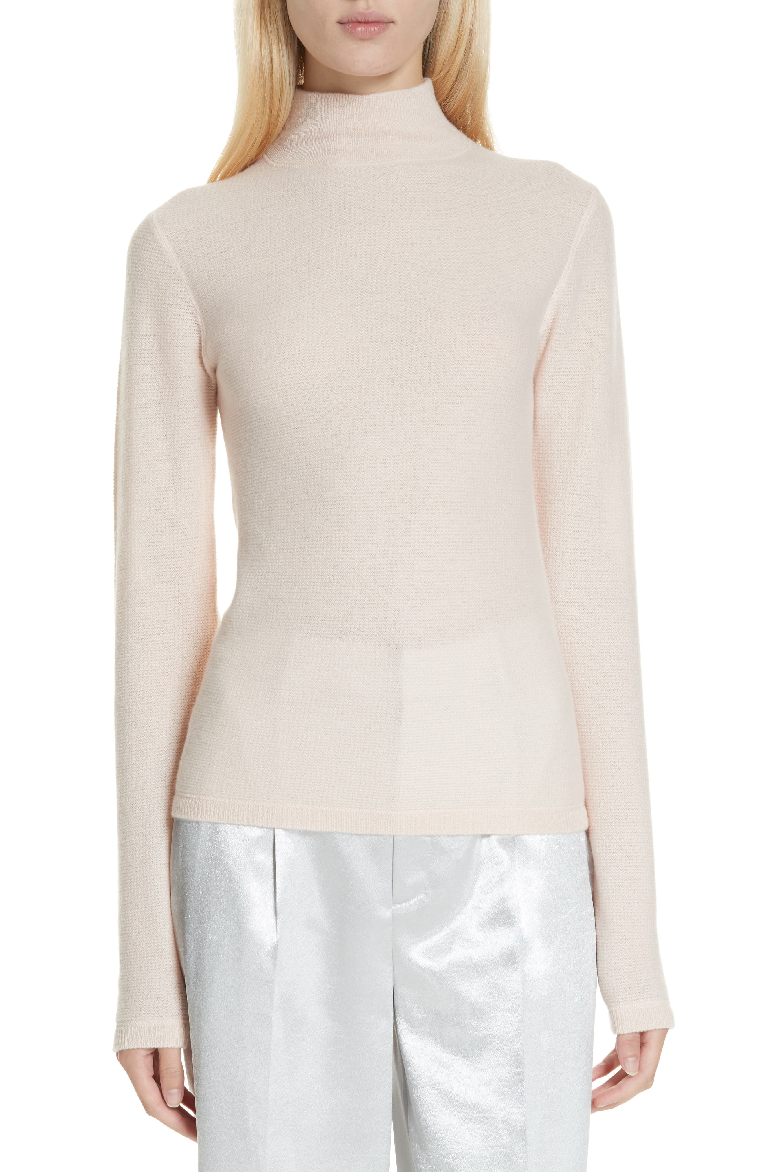 VINCE Waffle Mock Neck Sweater, Main, color, DESERT ROSE