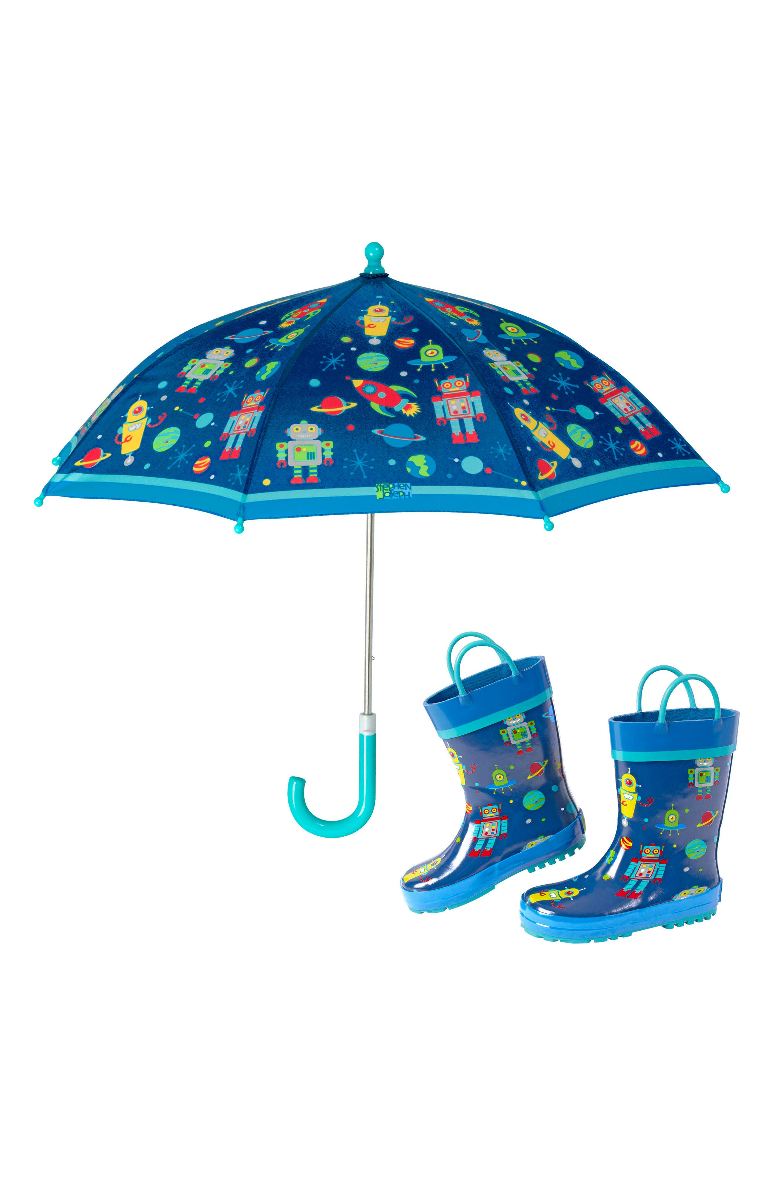 Stephen Joseph Print Rain Boots  Umbrella Set  Blue