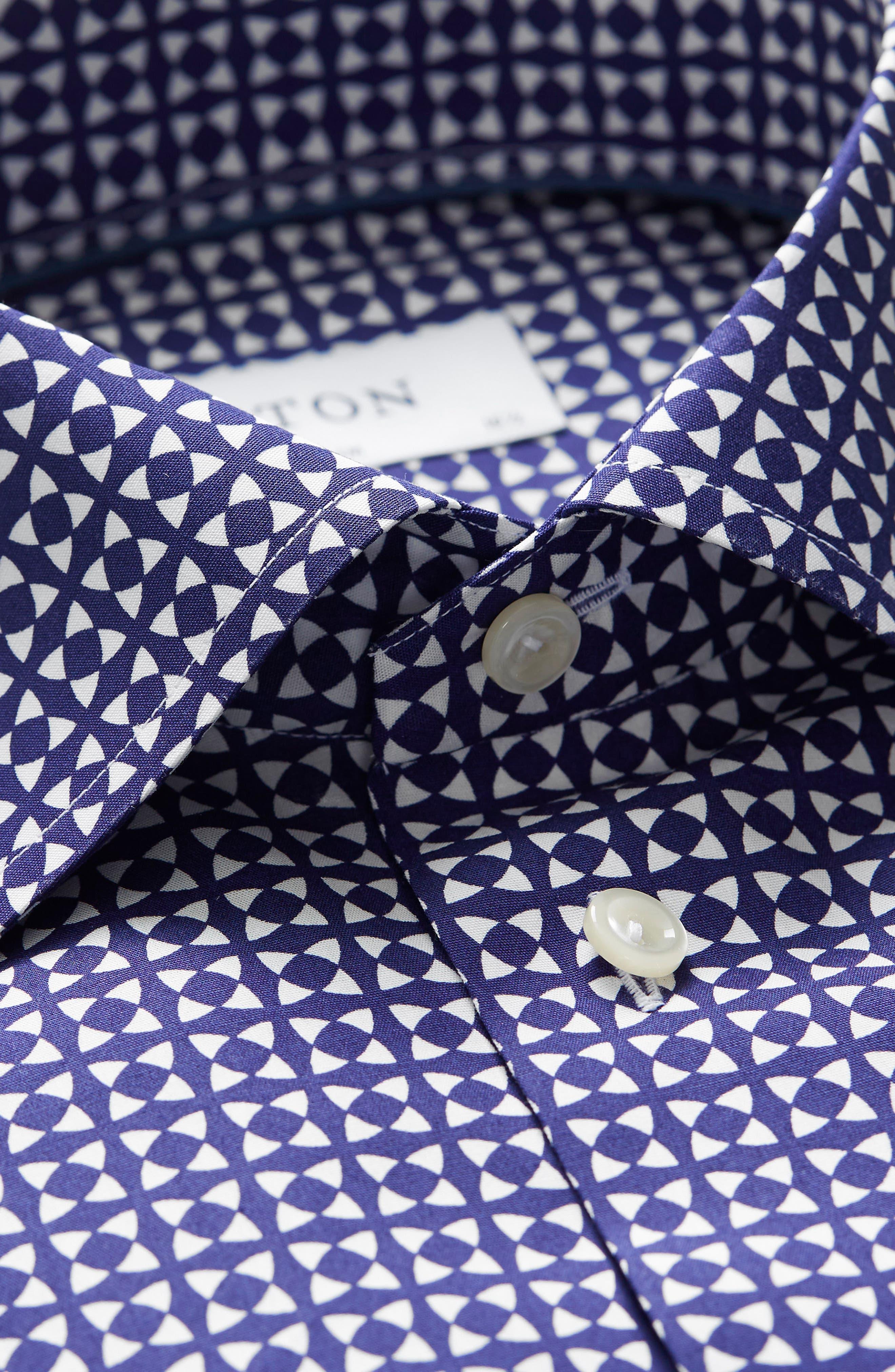 Slim Fit Geometric Dress Shirt,                             Alternate thumbnail 3, color,                             BLUE