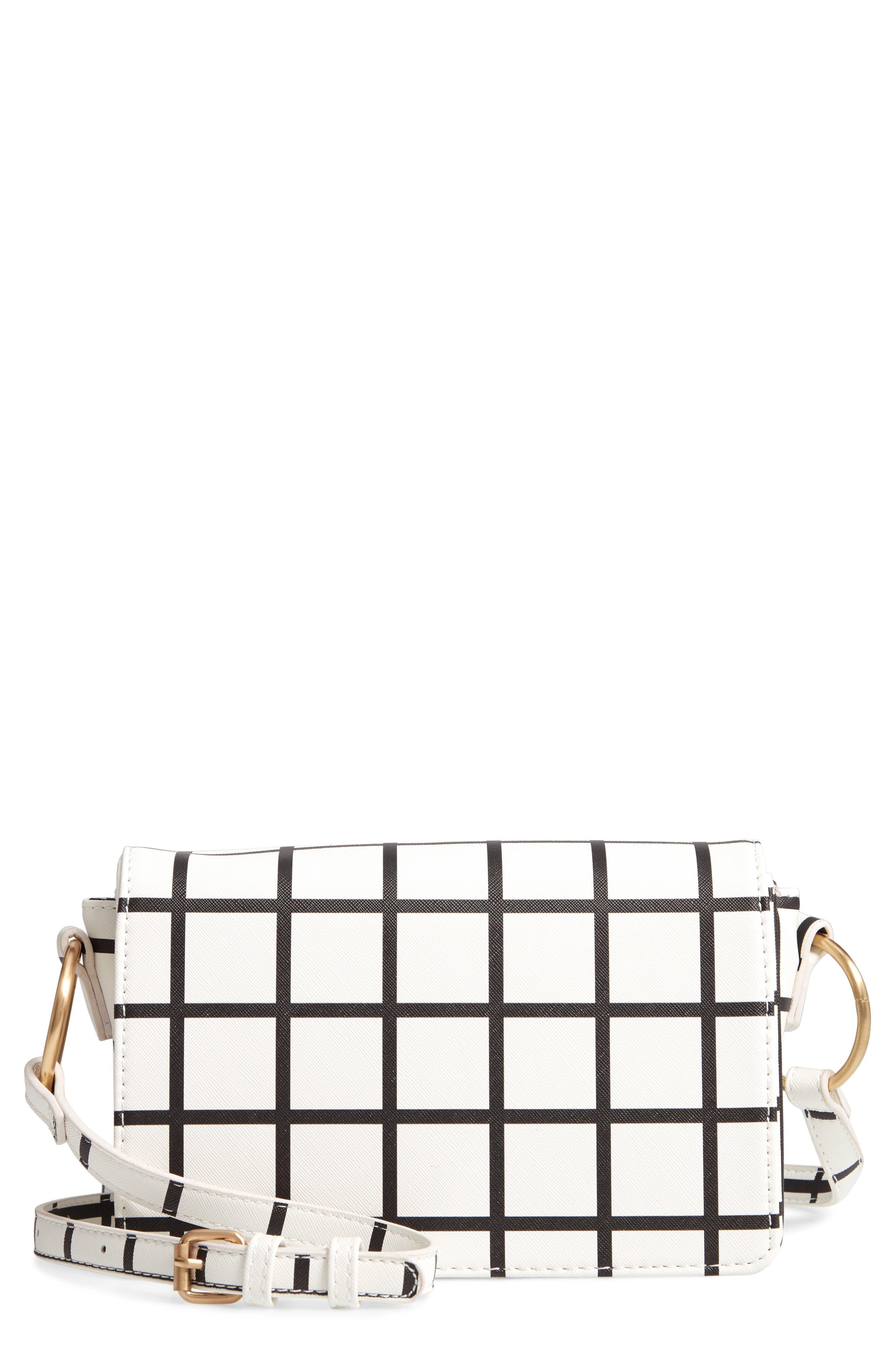 Windowpane Check Faux Leather Crossbody Bag,                         Main,                         color, BLACK/ WHITE
