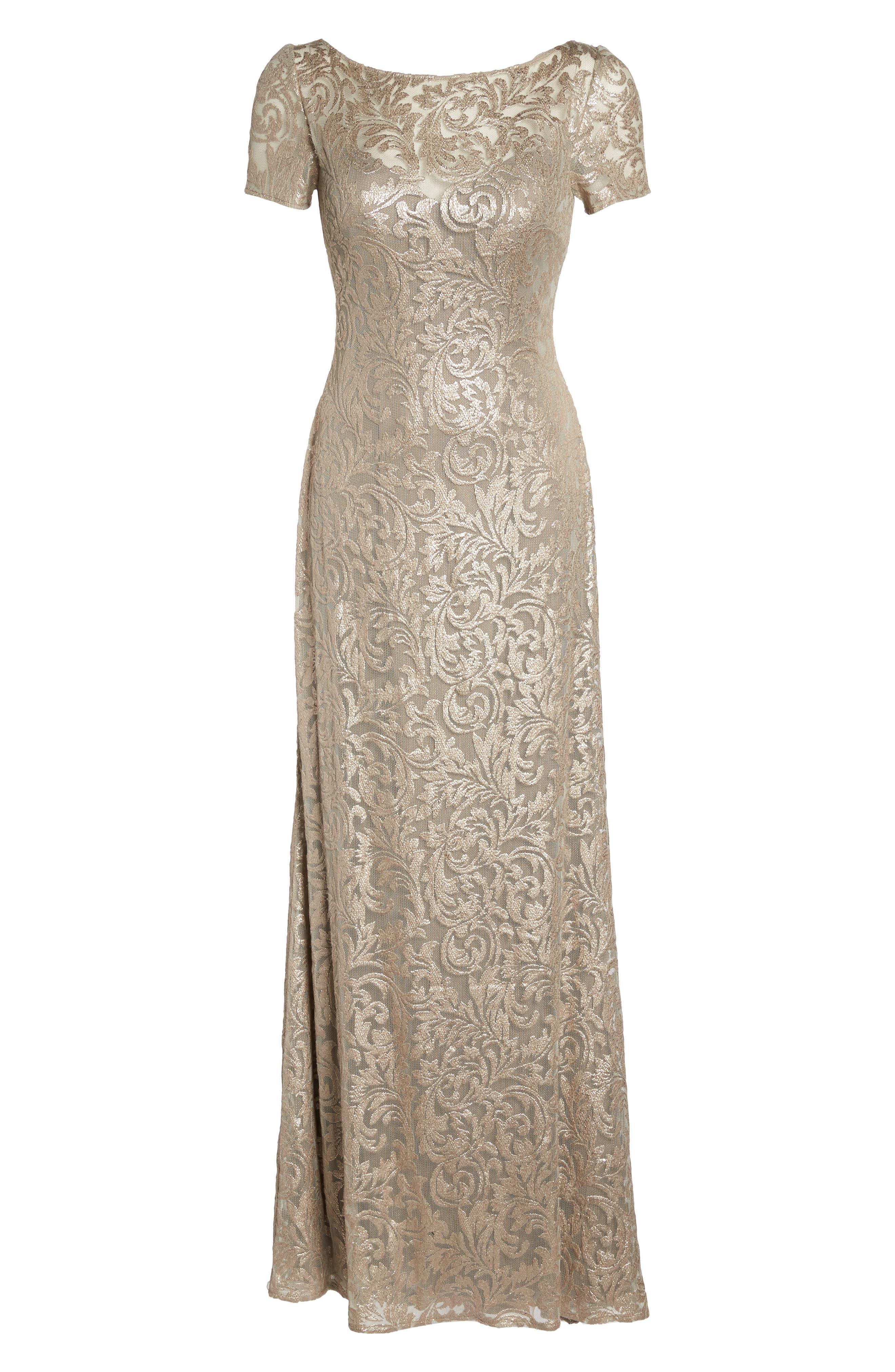 Shimmer Jacquard Gown,                             Alternate thumbnail 6, color,                             LIGHT GOLD