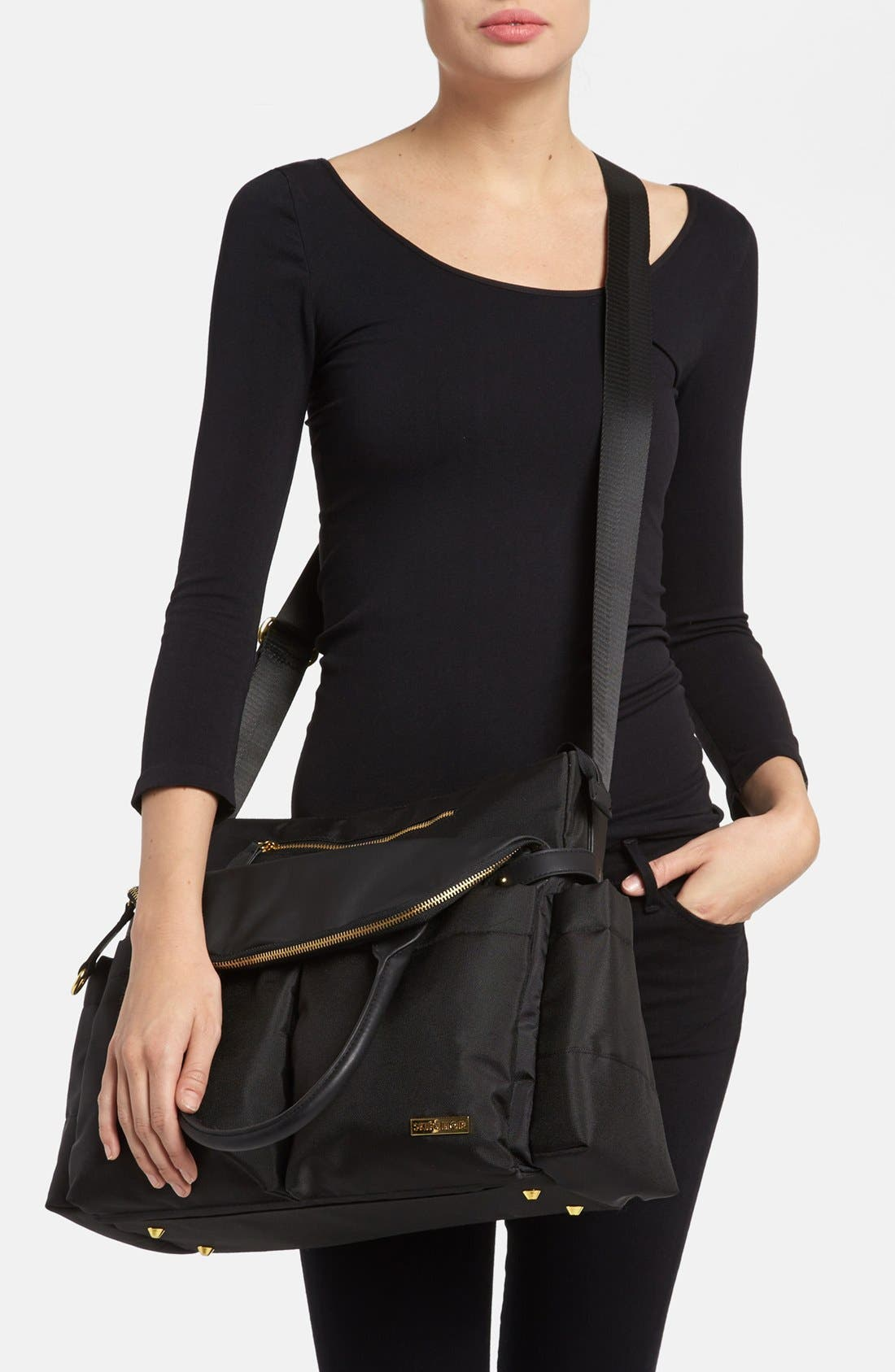 SKIP HOP,                             'Chelsea' Diaper Bag,                             Alternate thumbnail 3, color,                             BLACK