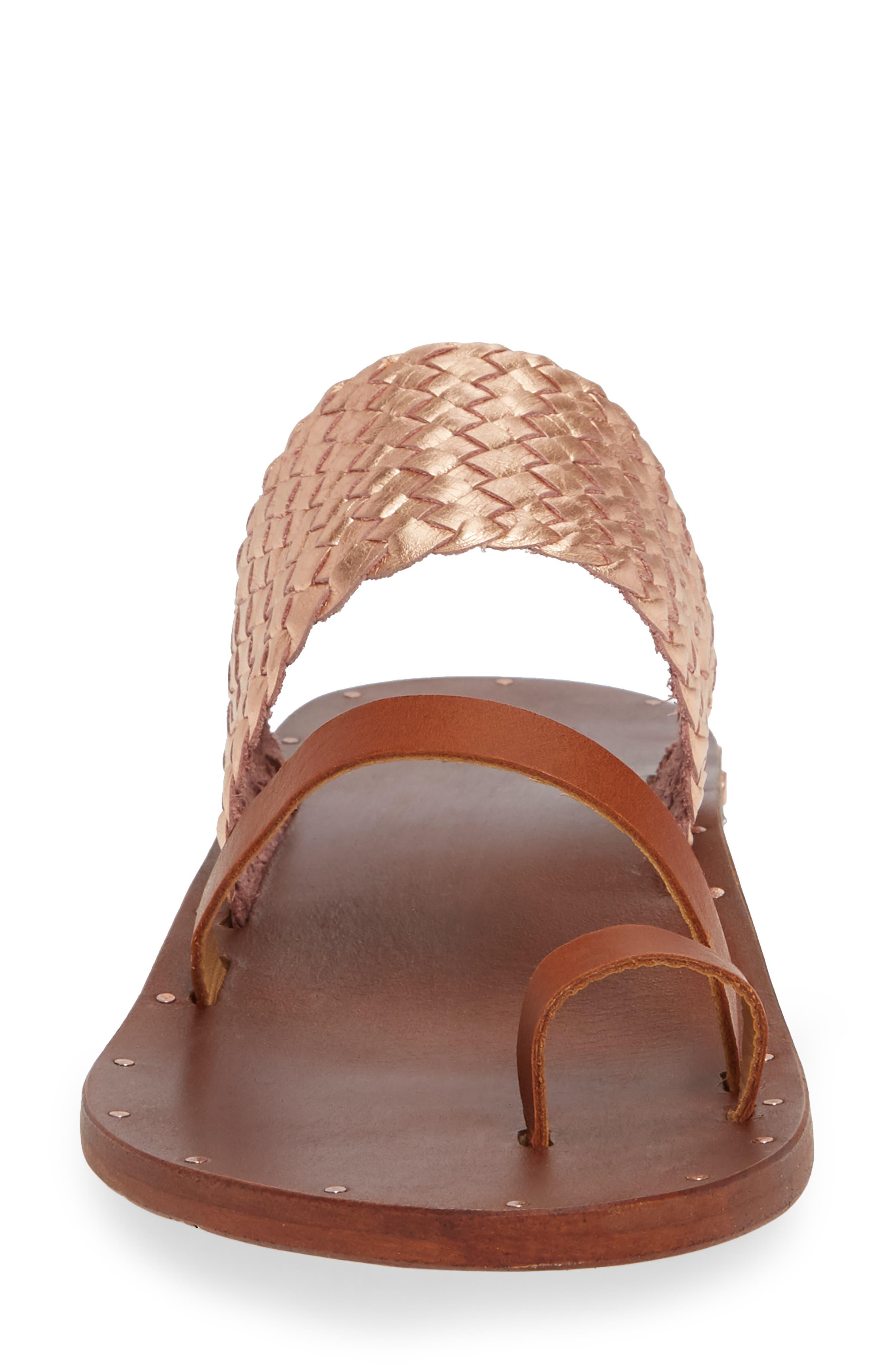 Cockatiel Woven Slide Sandal,                             Alternate thumbnail 4, color,                             ROSE/ TAN