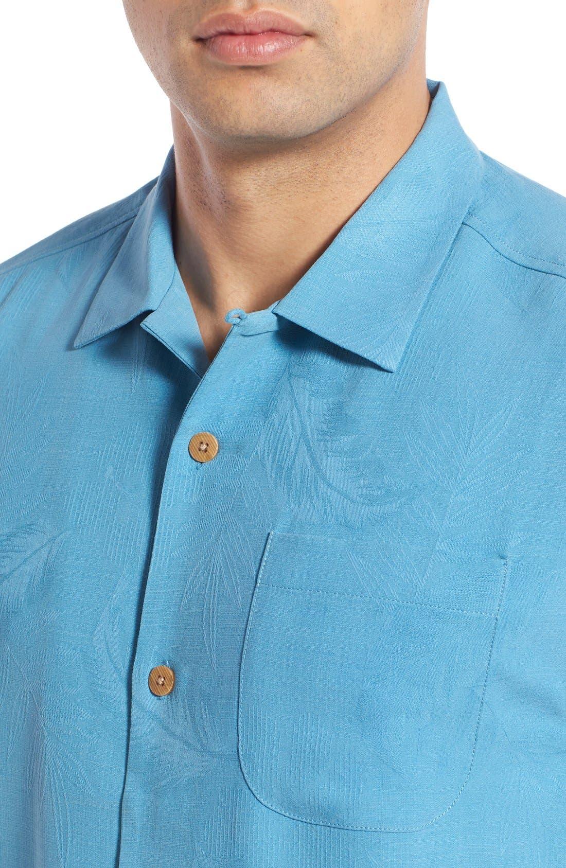 Rio Fronds Short Sleeve Silk Sport Shirt,                             Alternate thumbnail 56, color,