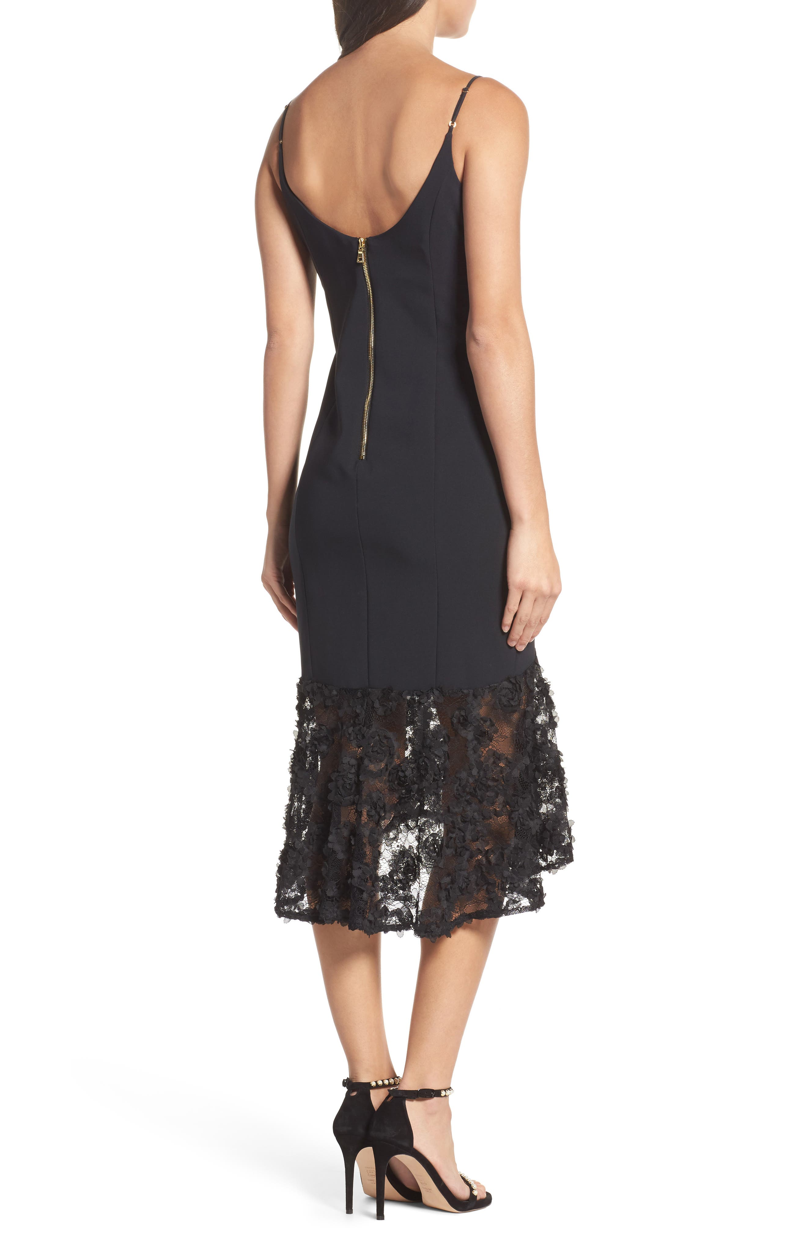 Milly Lace Flounce Slipdress,                             Alternate thumbnail 2, color,                             001