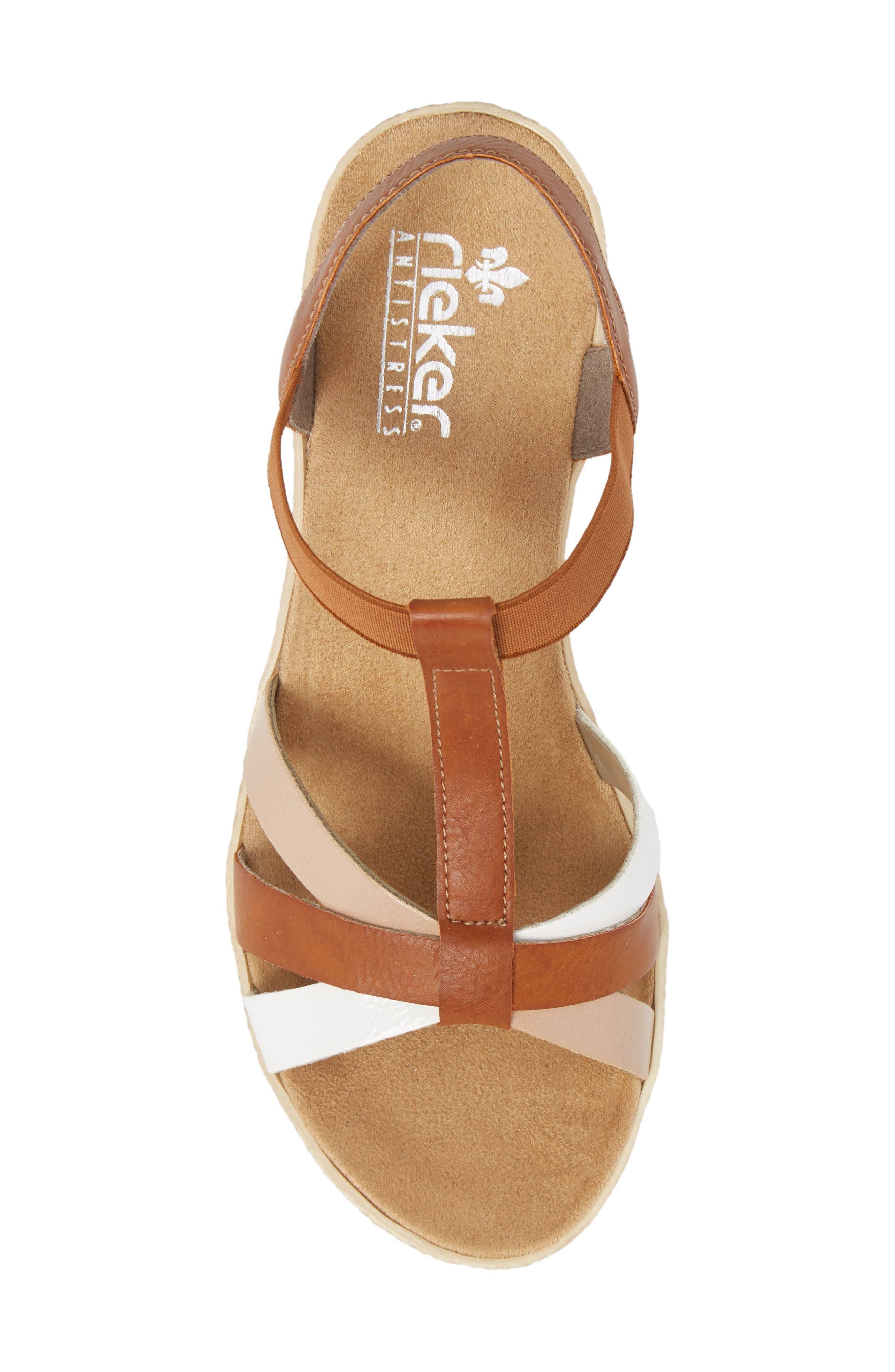 RIEKER ANTISTRESS,                             Fanni 95 Espadrille Wedge Sandal,                             Alternate thumbnail 5, color,                             BIANCO/ CAYENNE