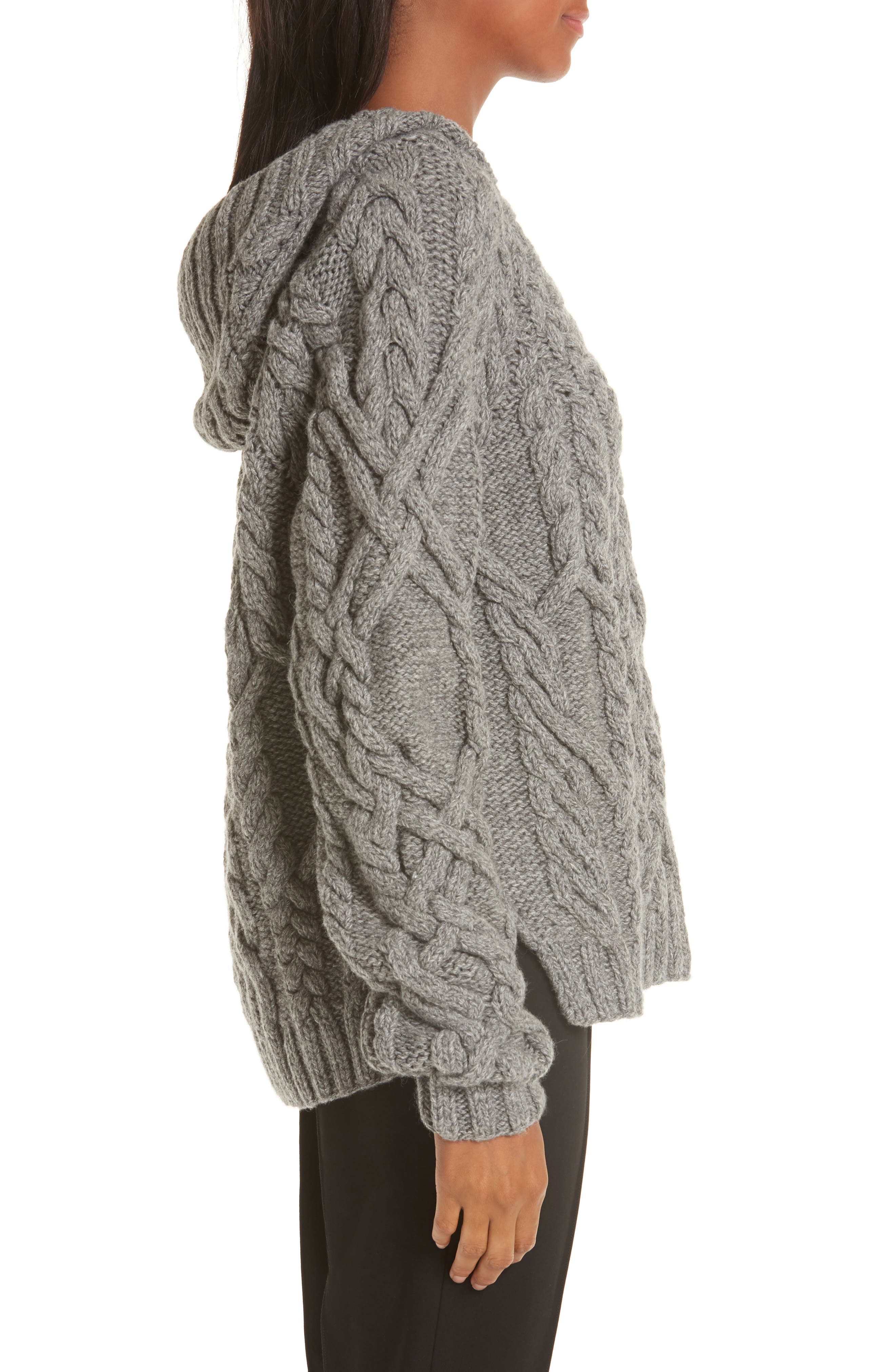 Mélange Cable Knit Hooded Sweater,                             Alternate thumbnail 3, color,                             GREY MELANGE