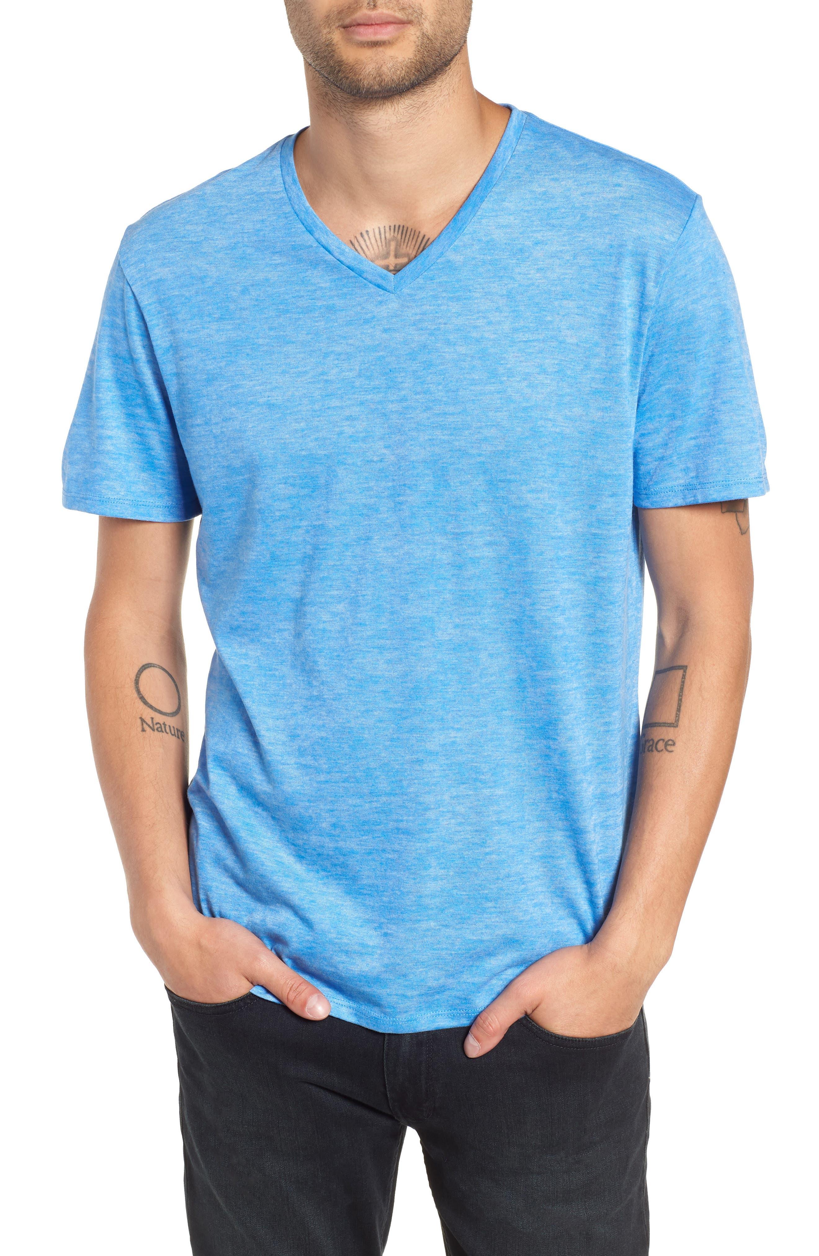 Burnout V-Neck T-Shirt,                         Main,                         color, BLUE BLISS- WHITE BURNOUT