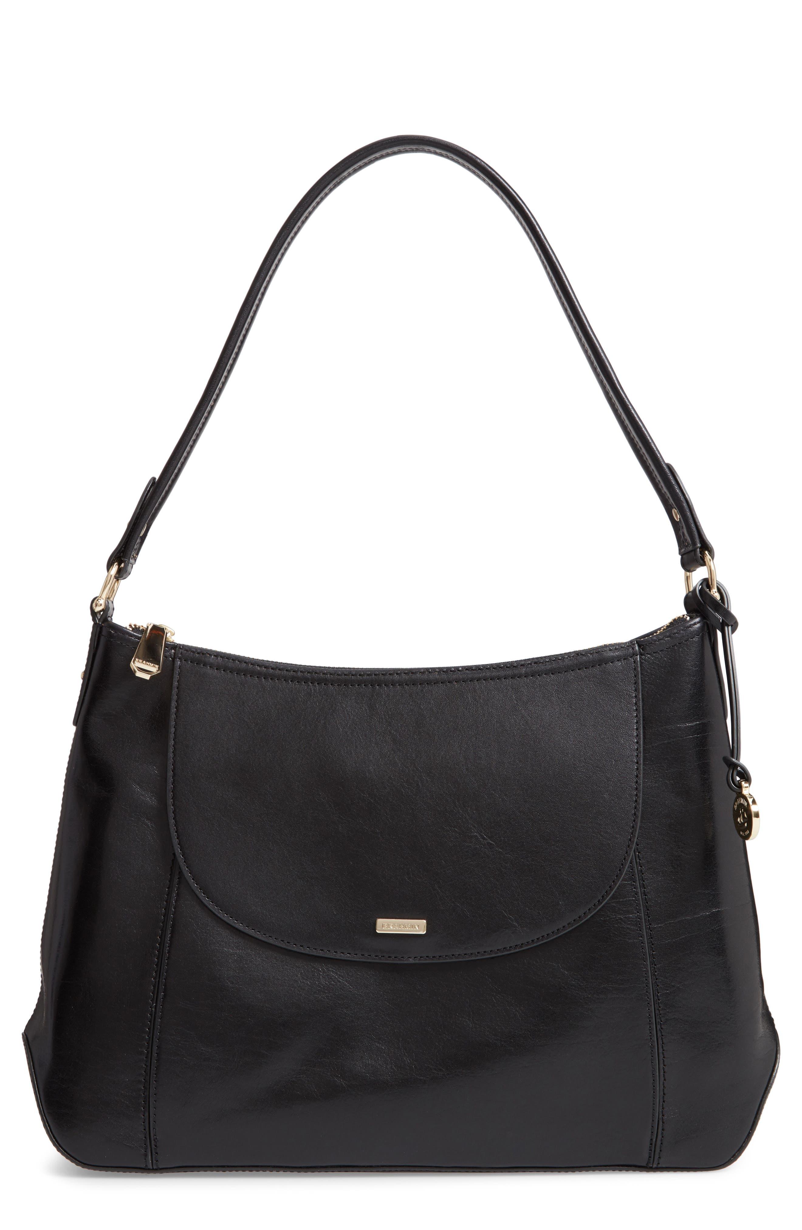 Weslynn Leather Shoulder Bag,                             Main thumbnail 1, color,                             BLACK