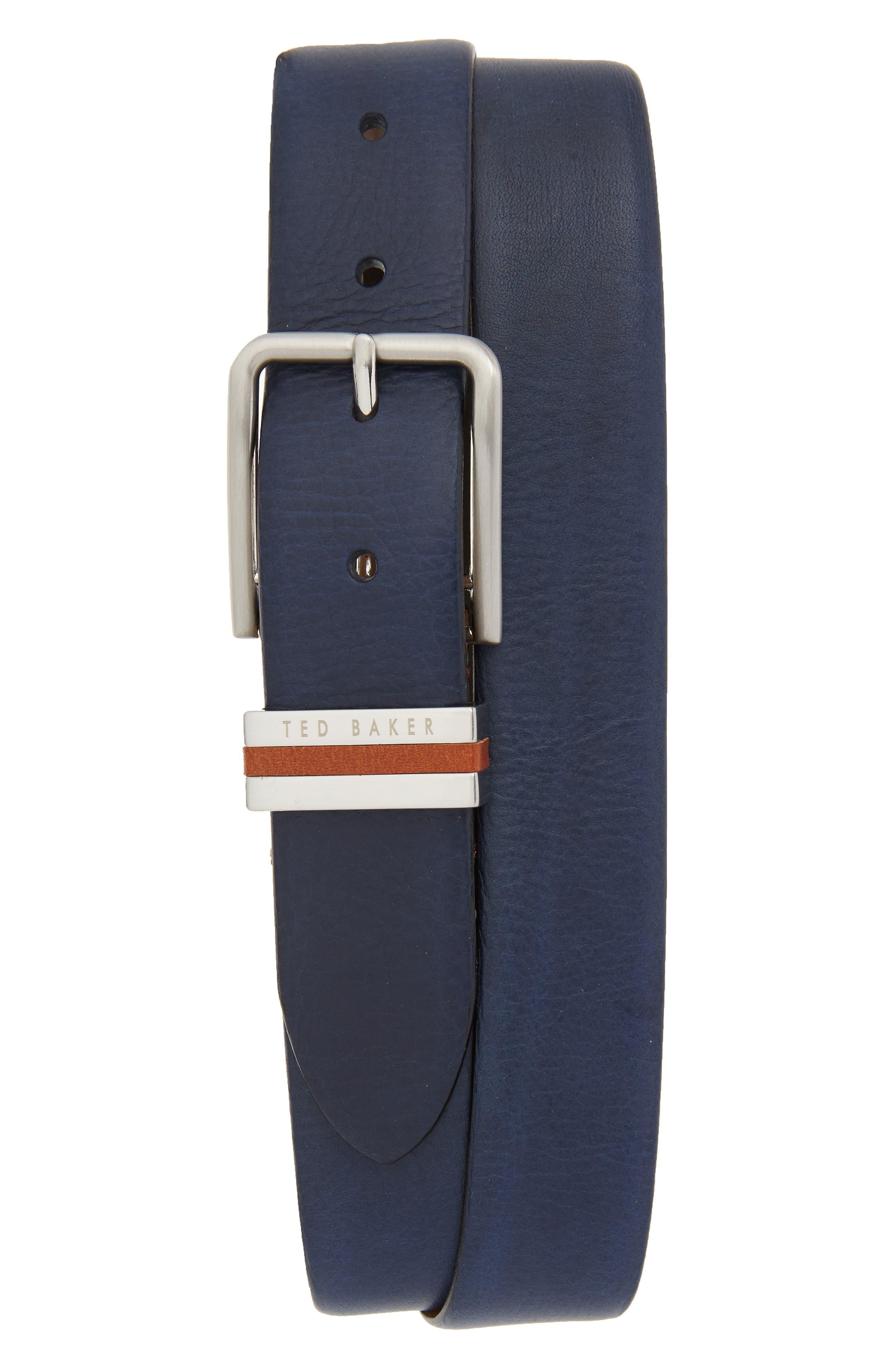 Ted Baker London Leather Belt, Navy