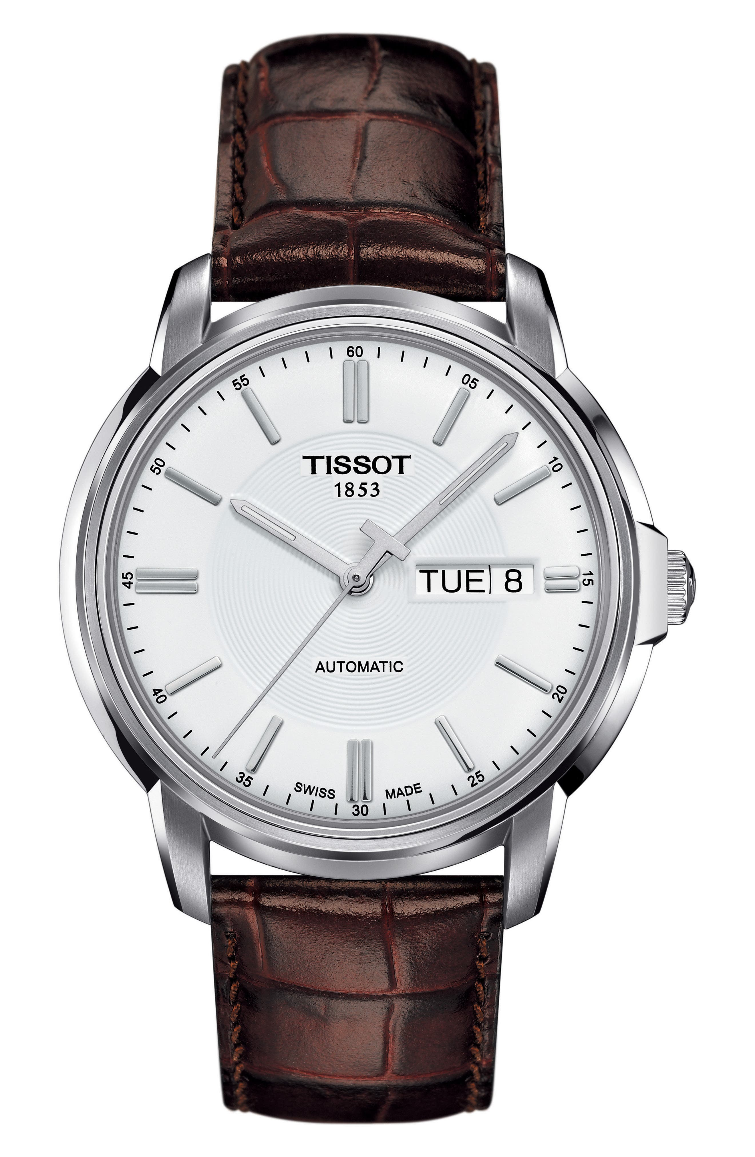TISSOT,                             Automatic III Leather Strap Watch, 40mm,                             Main thumbnail 1, color,                             BROWN/ SILVER