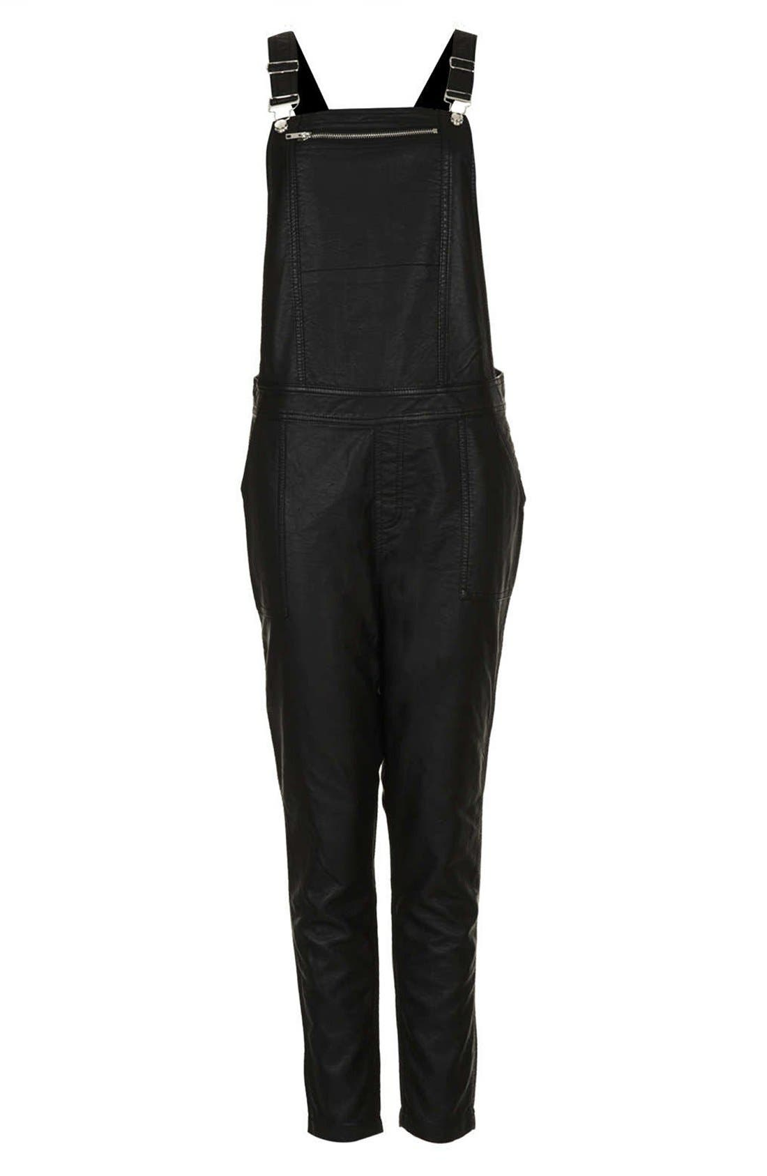 Faux Leather Overalls,                             Alternate thumbnail 5, color,                             001