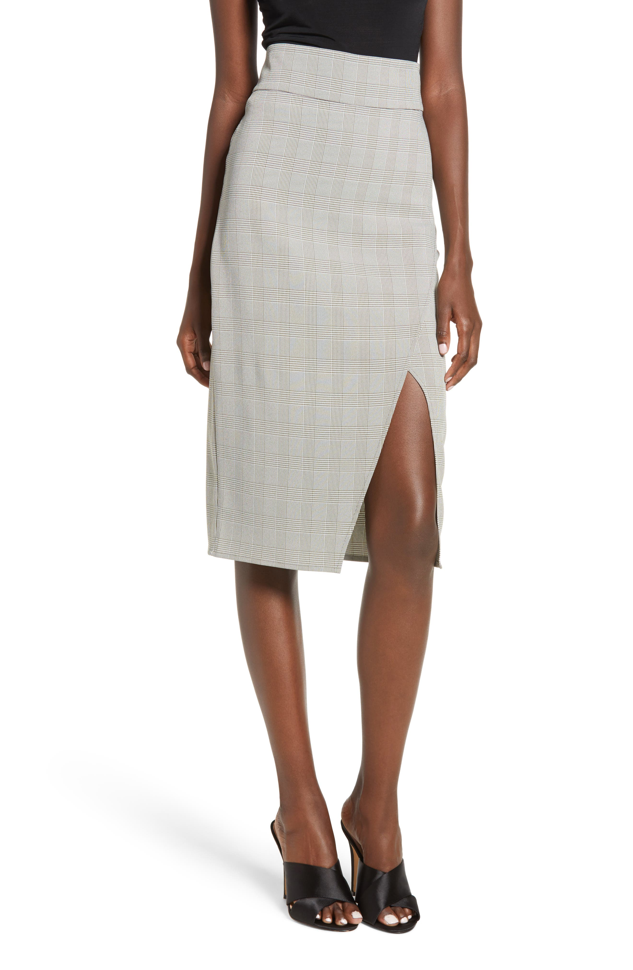 Belmont Faux Wrap Midi Skirt,                         Main,                         color, GREEN TWEED