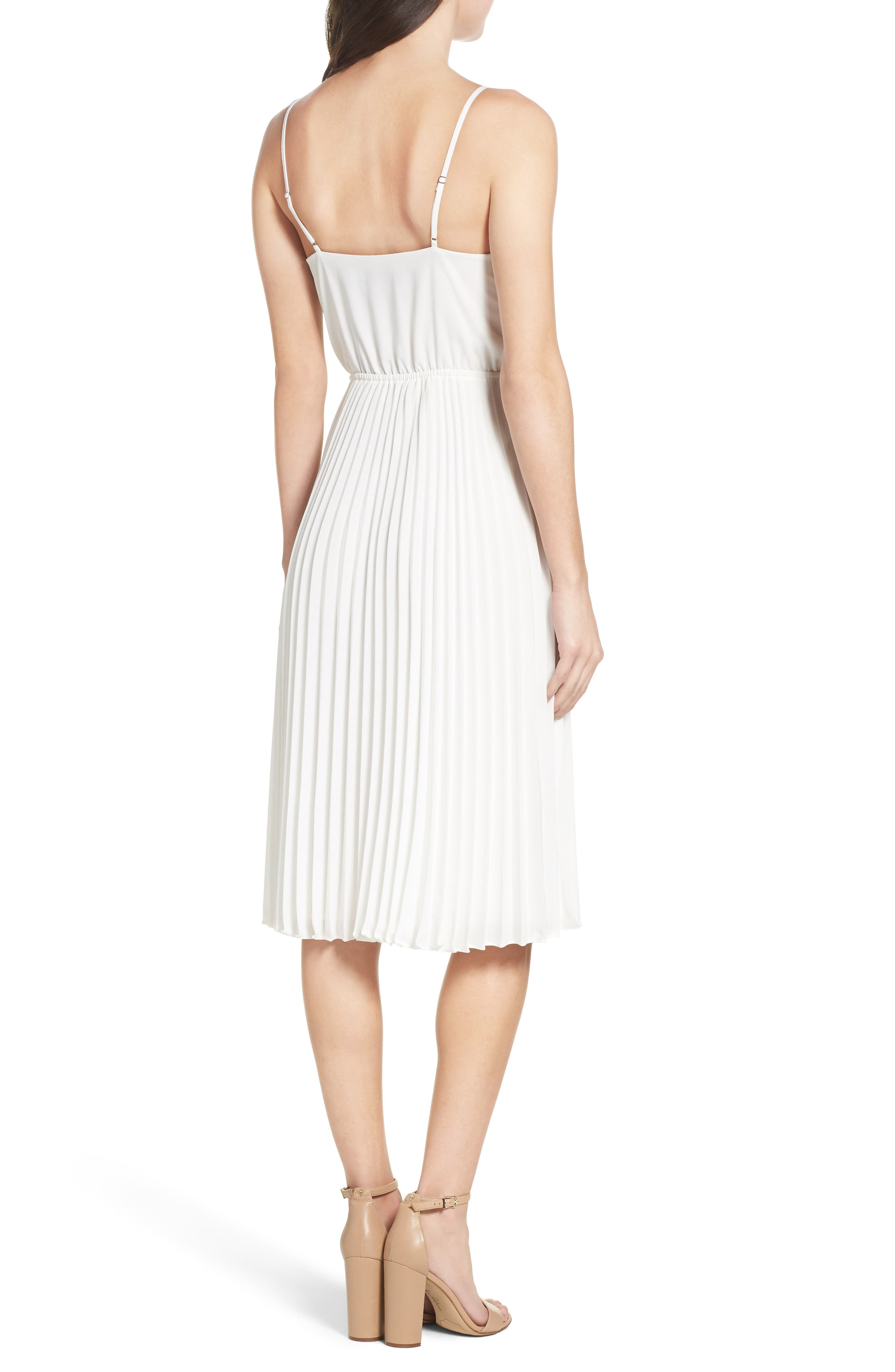 Lily Pond Fit & Flare Dress,                             Alternate thumbnail 2, color,                             WHITE