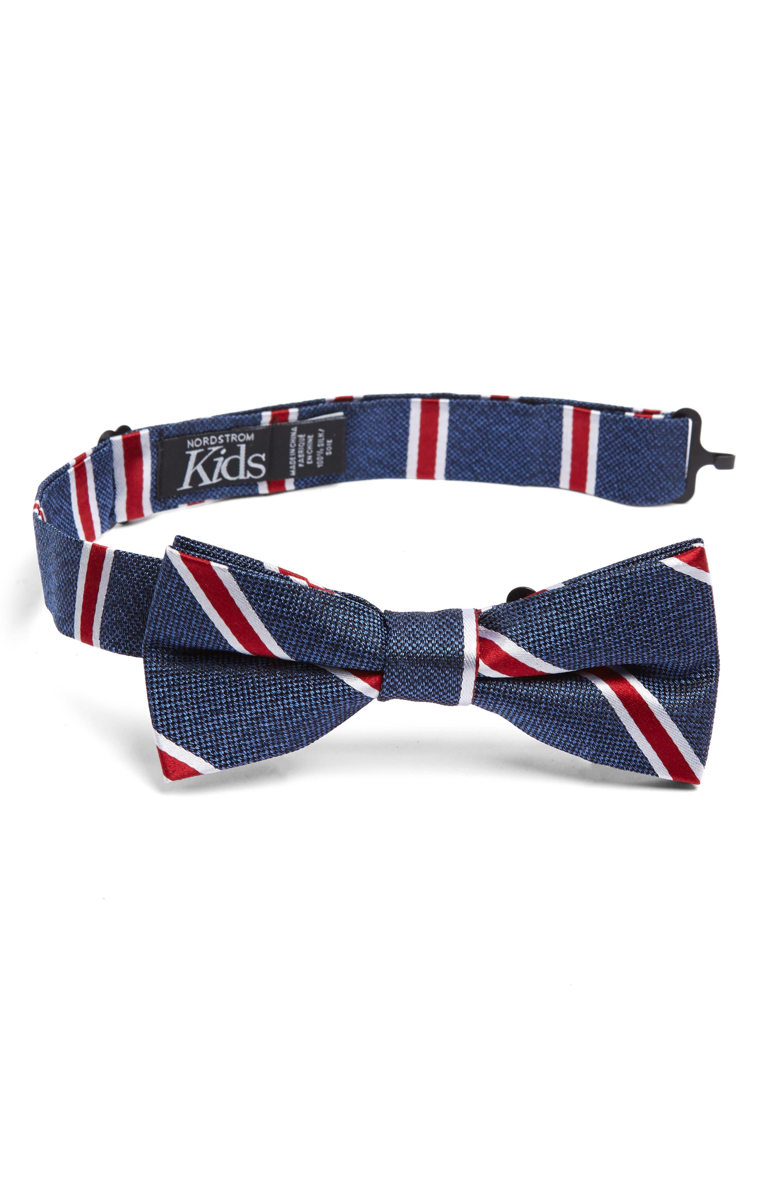 Stripe Cotton Bow Tie,                         Main,                         color, RED